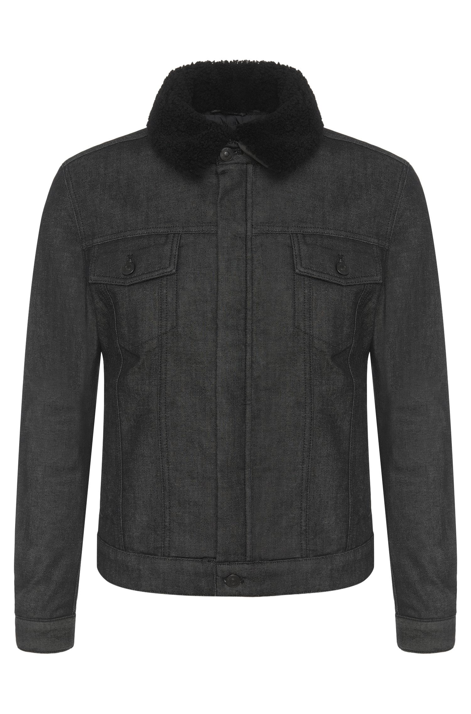 Veste en jean Slim Fit en coton stretch dotée d'un col amovible : « Windham3 »