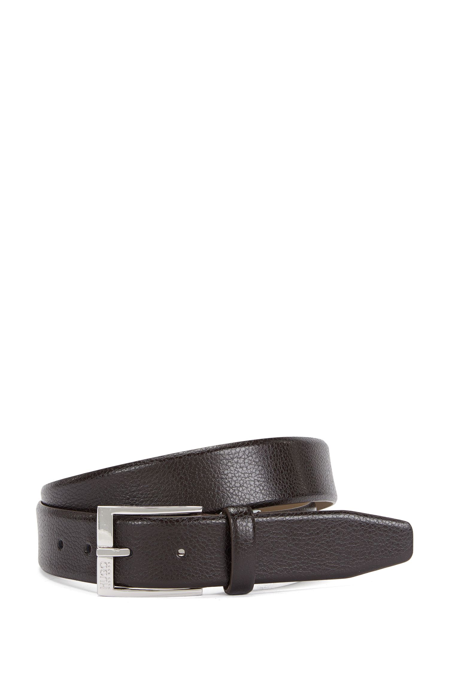 Belt in embossed leather: 'C-Elloy_Sz35_ltgr'