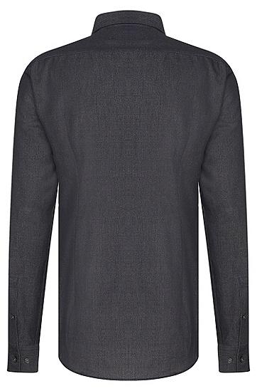 Slim-Fit Hemd aus Baumwolle in Salz-und-Pfeffer-Optik: 'Isaak', Anthrazit