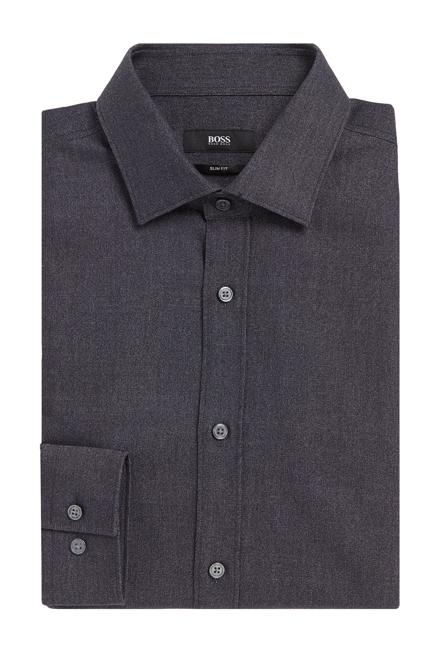 Slim-fit overhemd van katoen in peper-en-zoutlook: 'Isaak'