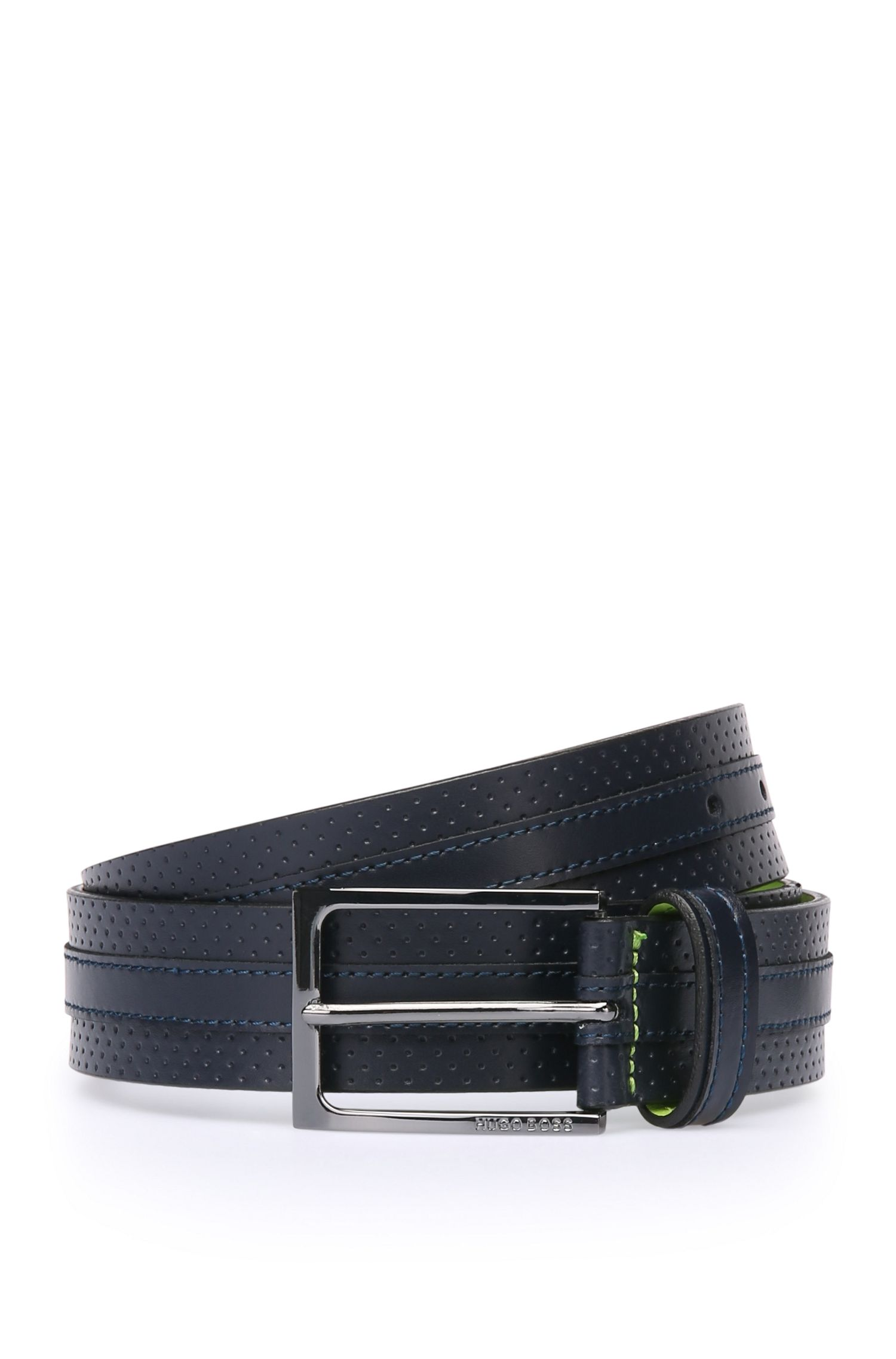 Leather belt with perforations: 'Tonino_Sz35_ltpf'
