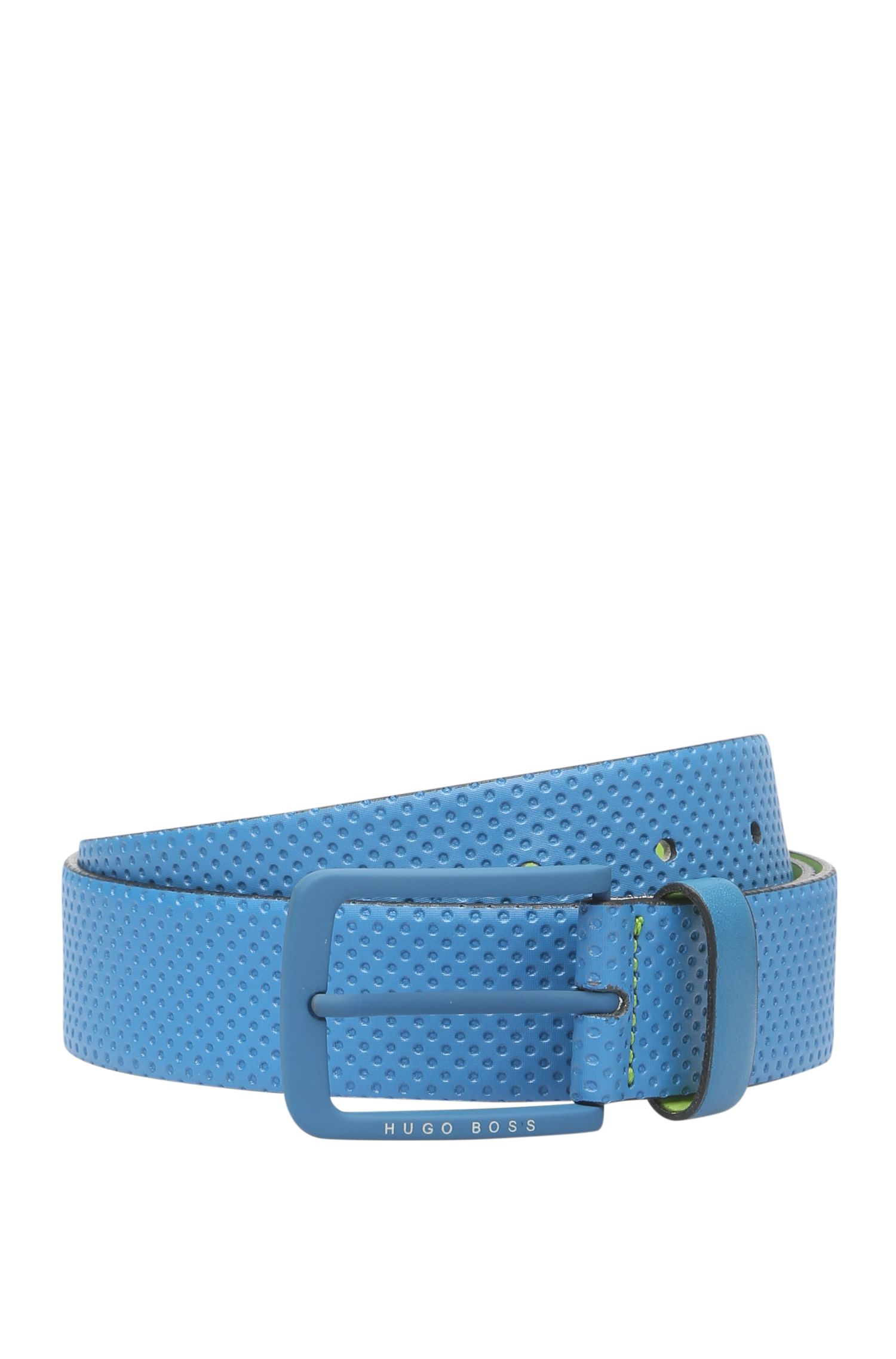 Leather belt with embossing and contrasting interior: 'Tominy_Sz35_ltem'
