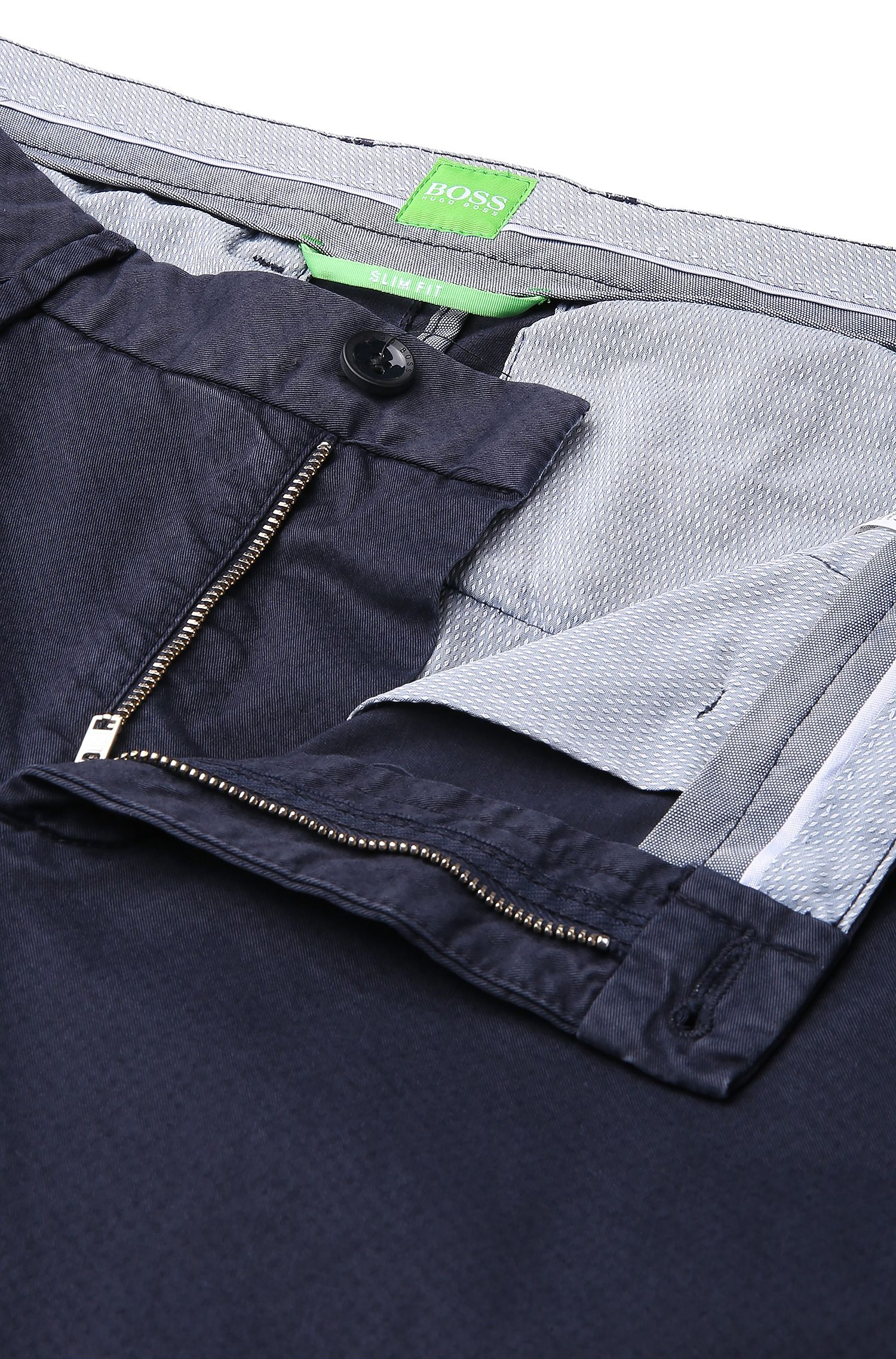 Chino Slim Fit en coton stretch structuré: «C-Rice1-1-D»