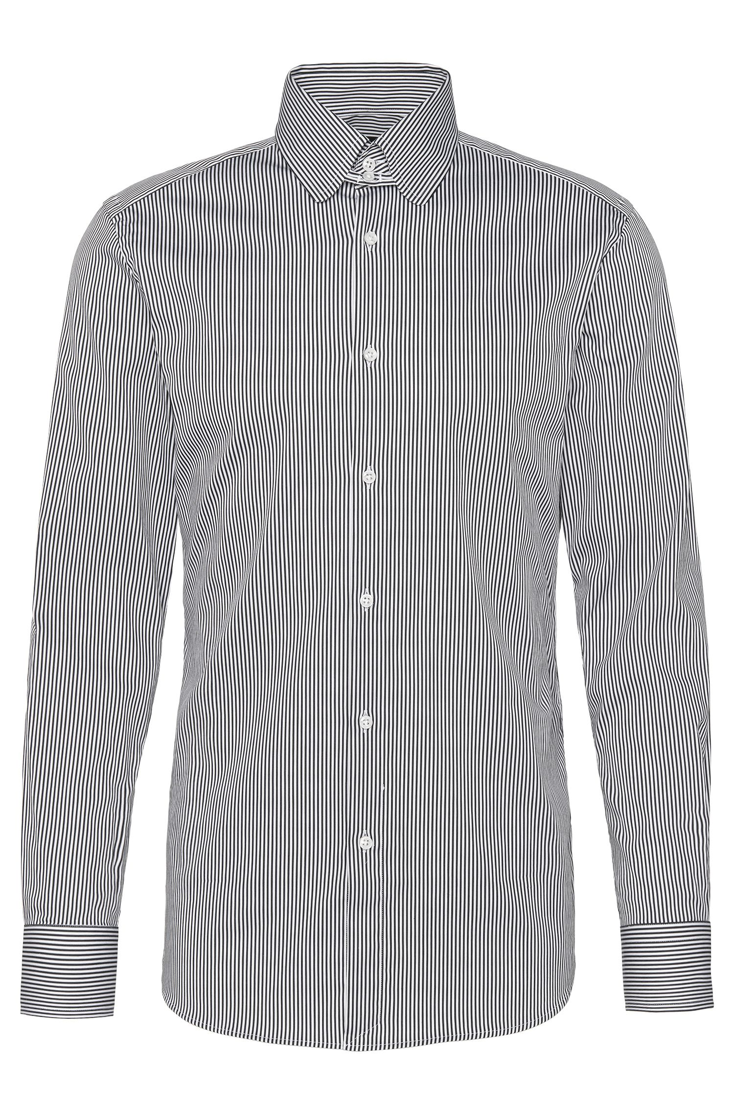 Striped slim-fit Tailored shirt in cotton blend: 'T-Stephen'