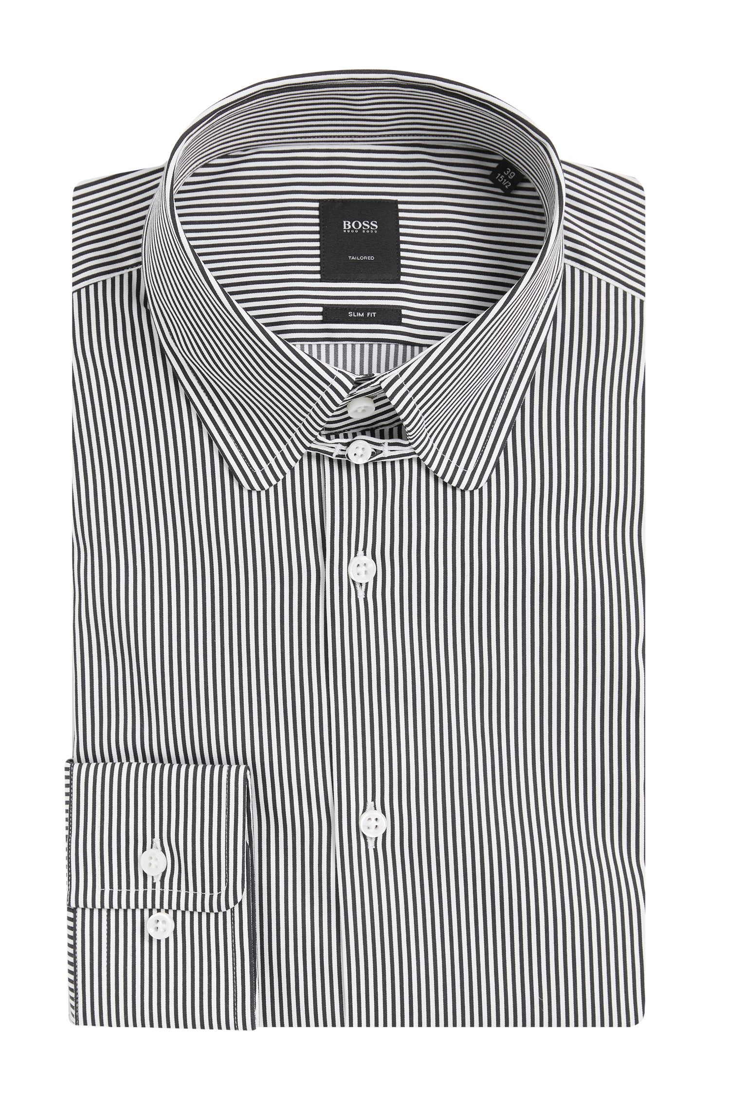 Gestreiftes Slim-Fit Tailored Hemd aus Baumwoll-Mix: 'T-Stephen'