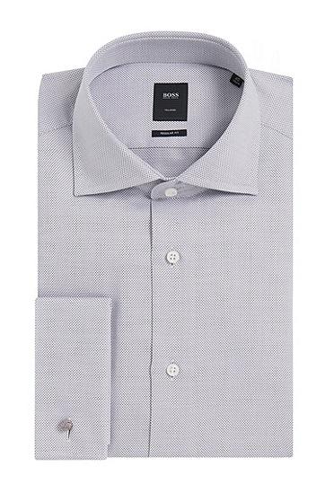 Regular-Fit Tailored Hemd aus Baumwolle mit Umschlagmanschetten: 'T-Stan', Grau