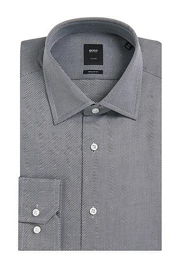 Fein gestreiftes Regular-Fit Tailored Hemd aus Baumwolle: 'T-Stuart', Schwarz