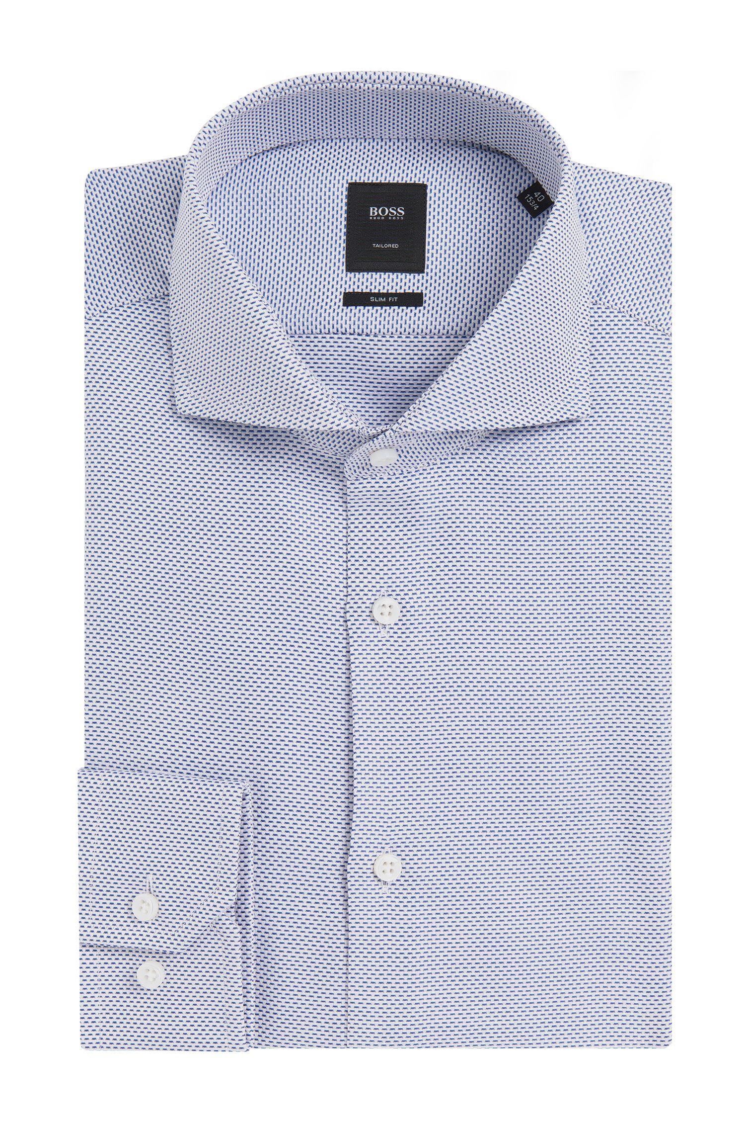 Gemustertes Slim-Fit Tailored Hemd aus Baumwolle: 'T-Christo'