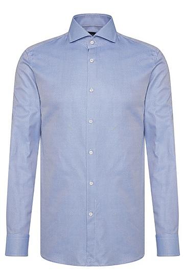 Gemustertes Slim-Fit Tailored Hemd aus Baumwolle: 'T-Christo', Blau