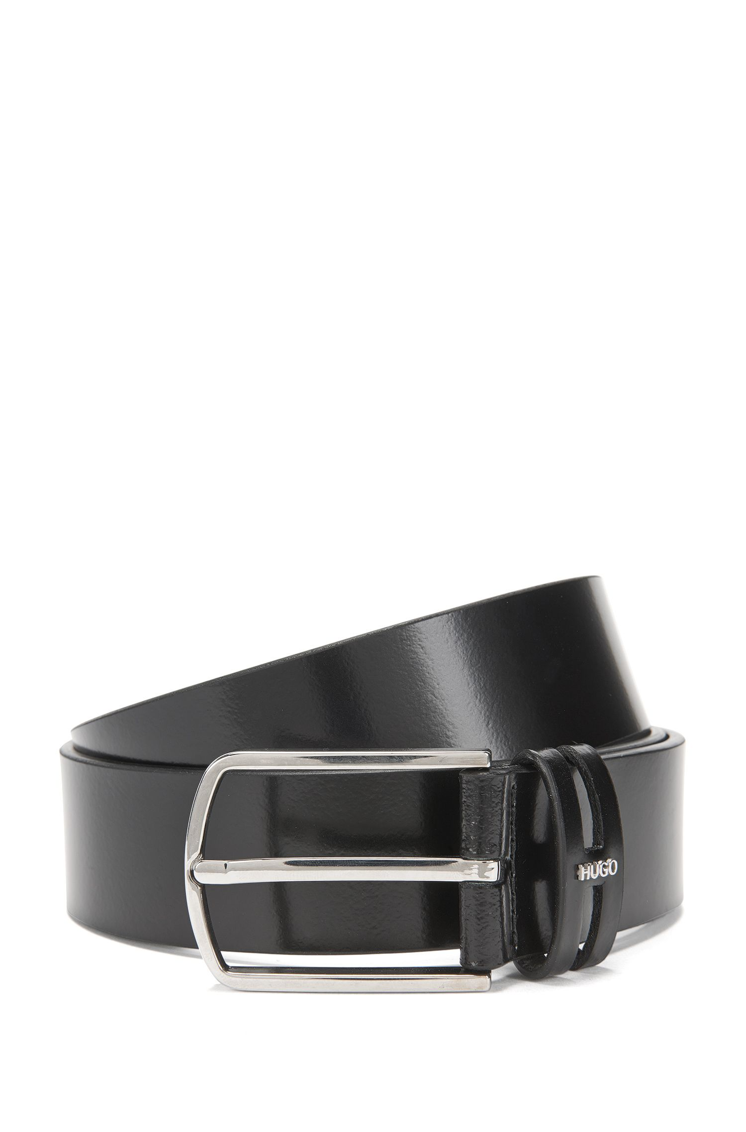 Leather belt with metal logo: 'Gian_Sz35_ltpl'