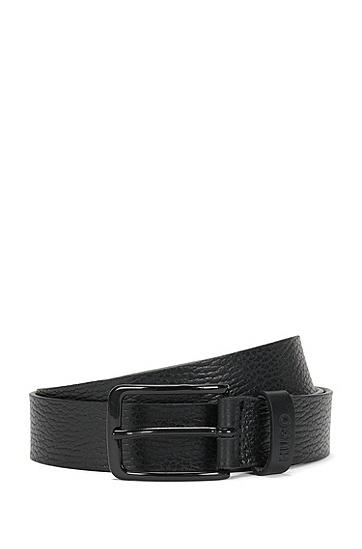 Gürtel aus Leder mit Logo-Prägung: 'Garey_Sz30_ltgr', Schwarz