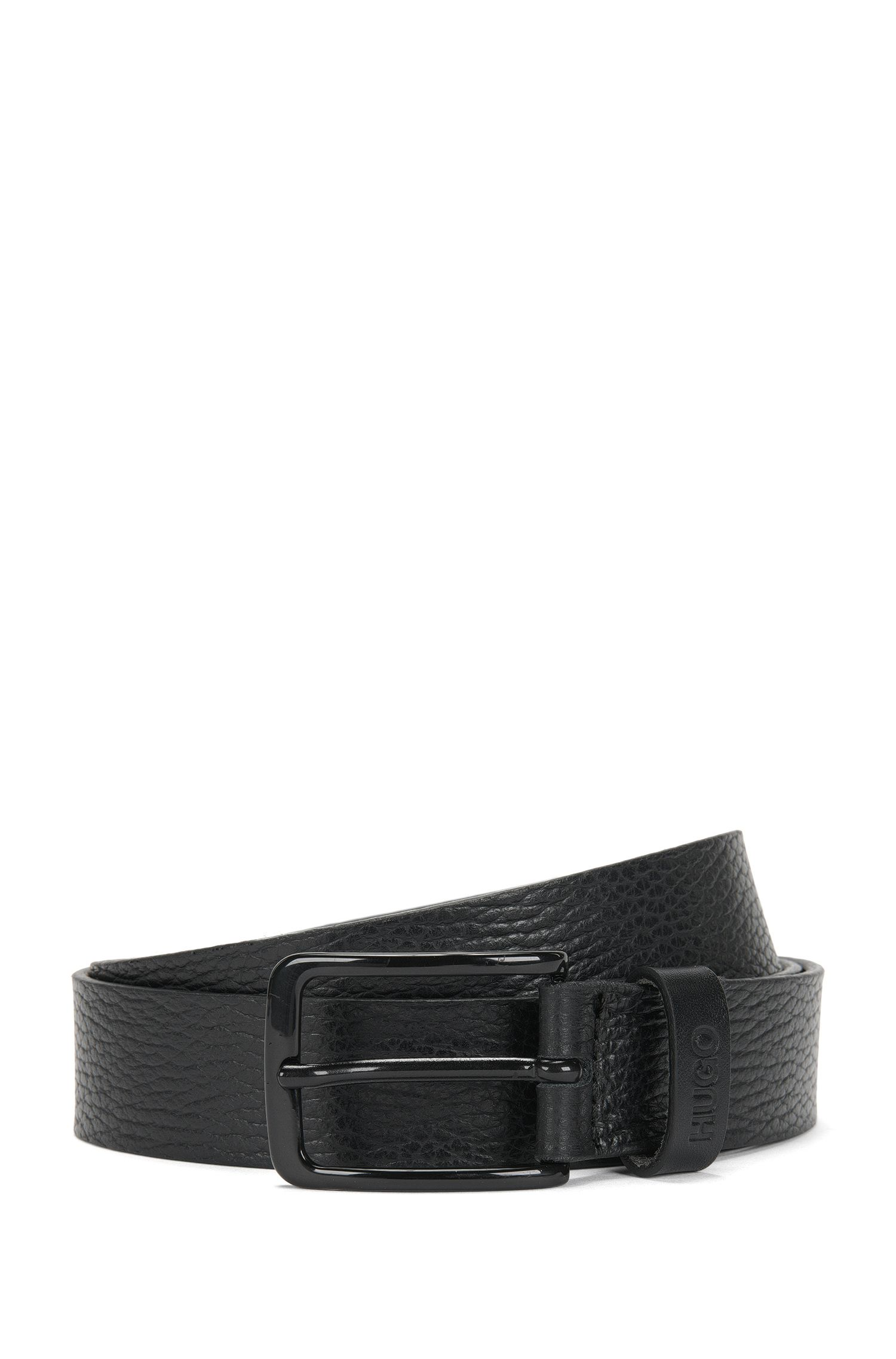 Leather belt with embossed logo: 'Garey_Sz30_ltgr'