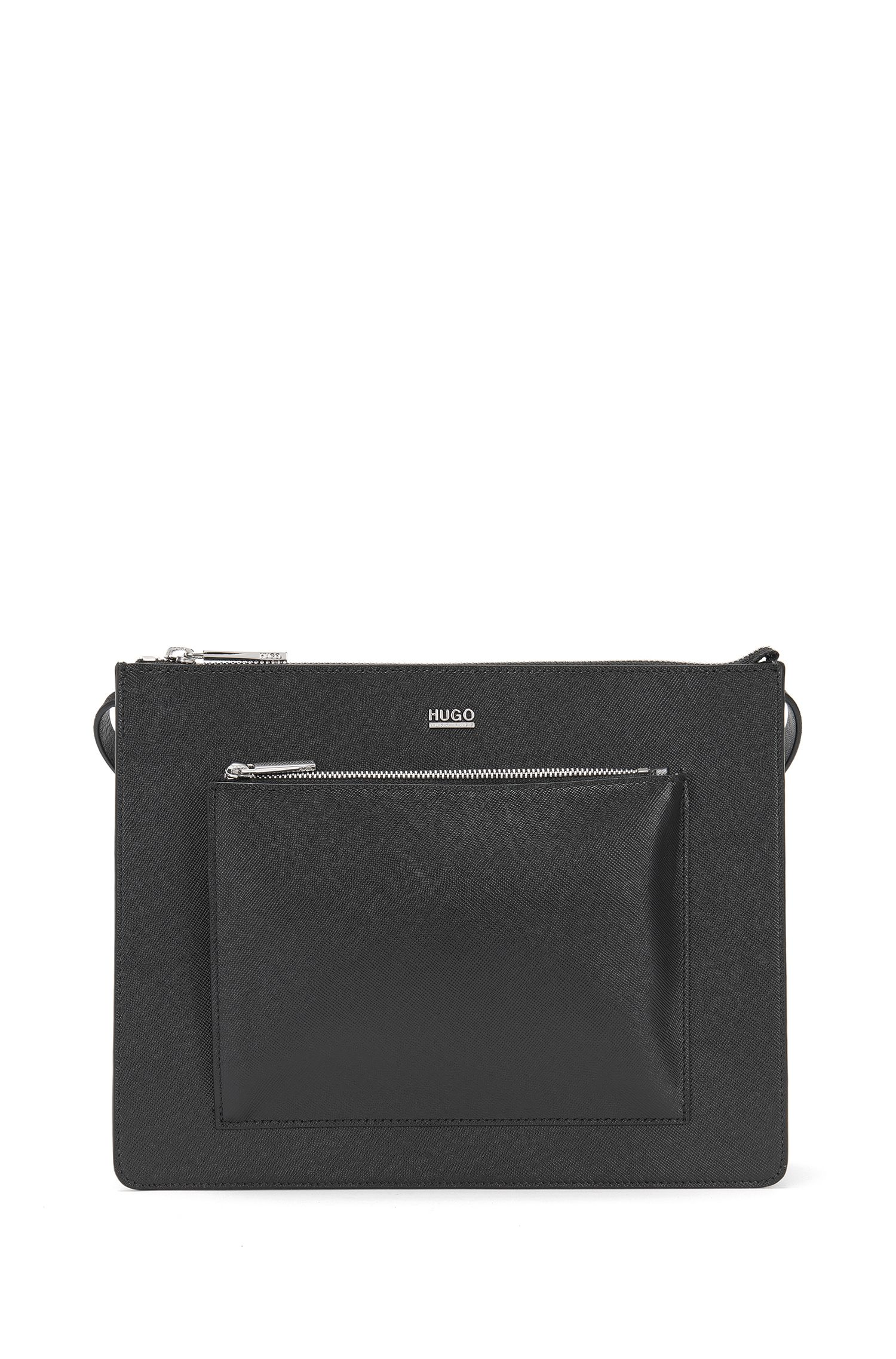 Leather shoulder bag with patch zip pocket: 'Nilda'