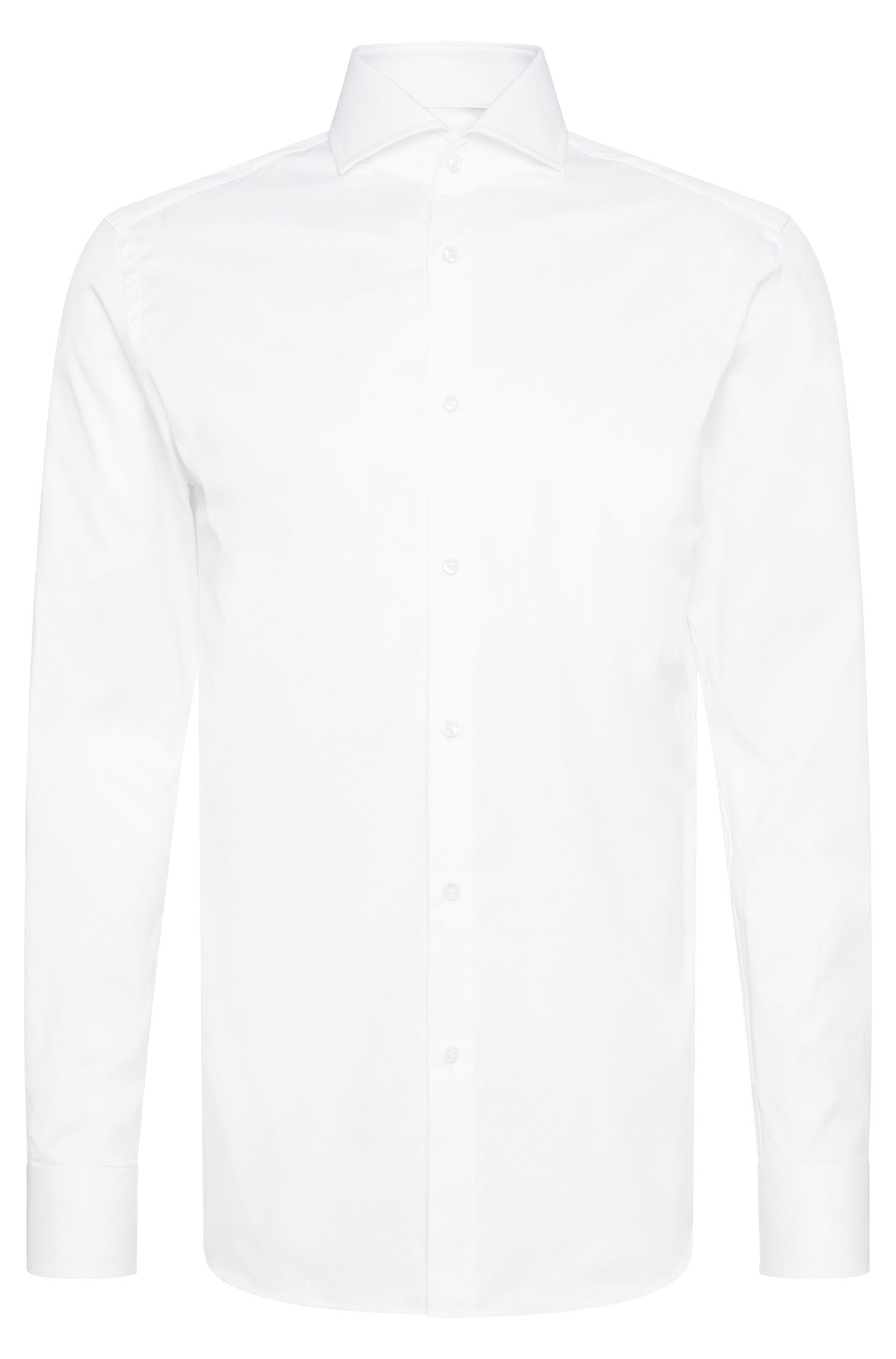 Unifarbenes Slim-Fit Tailored Hemd aus Baumwolle: 'T-Christo'