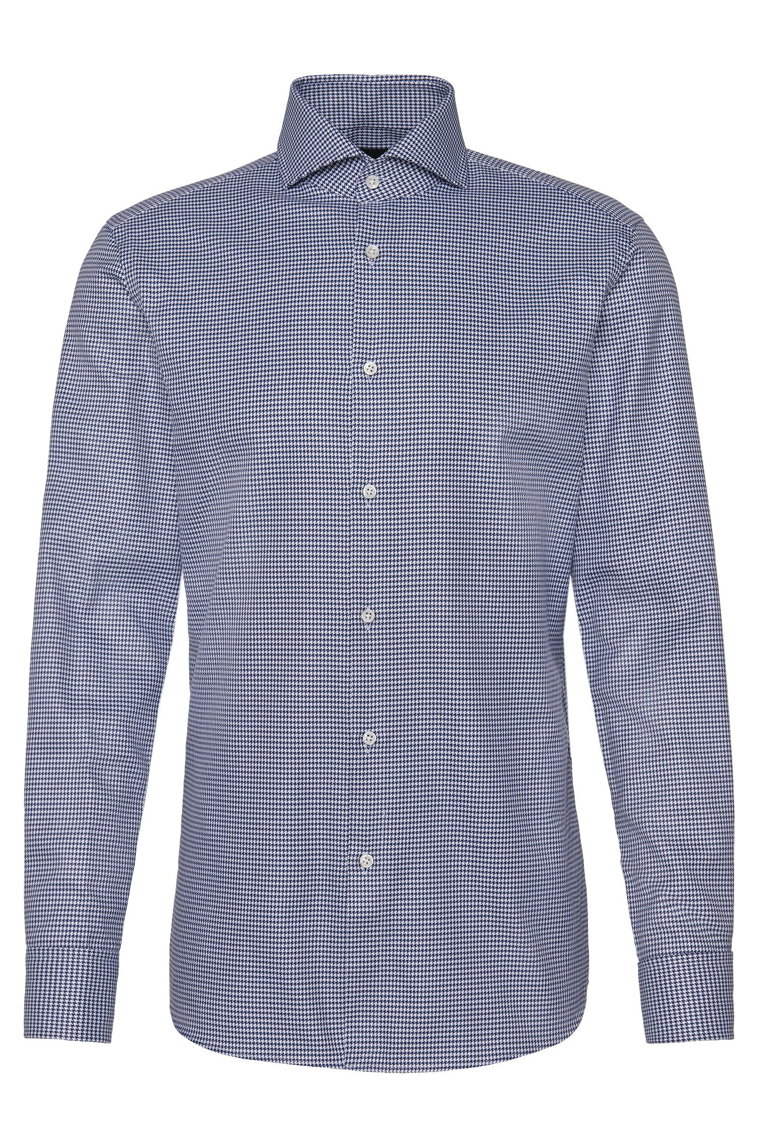 Patterned slim-fit Tailored shirt in cotton with turn-back cuffs: 'T-Yacob'