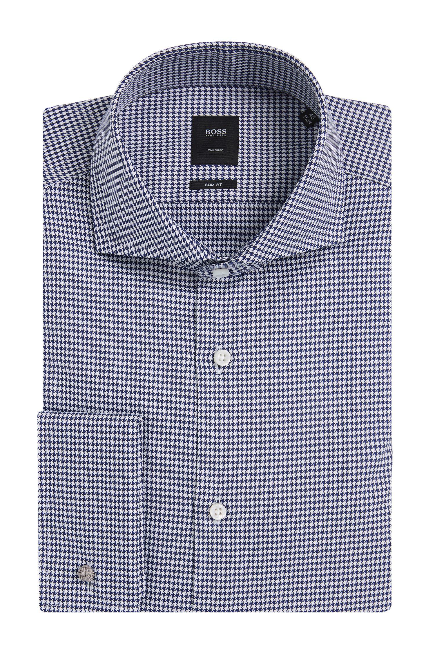 Gemustertes Slim-Fit Tailored Hemd aus Baumwolle mit Umschlagmanschetten: 'T-Yacob'