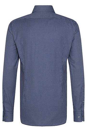 Gemustertes Slim-Fit Tailored Hemd aus Baumwolle: 'T-Christo', Dunkelblau