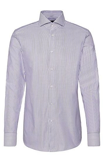 Gestreiftes Slim-Fit Tailored Hemd aus Baumwolle: 'T-Christo', Lila