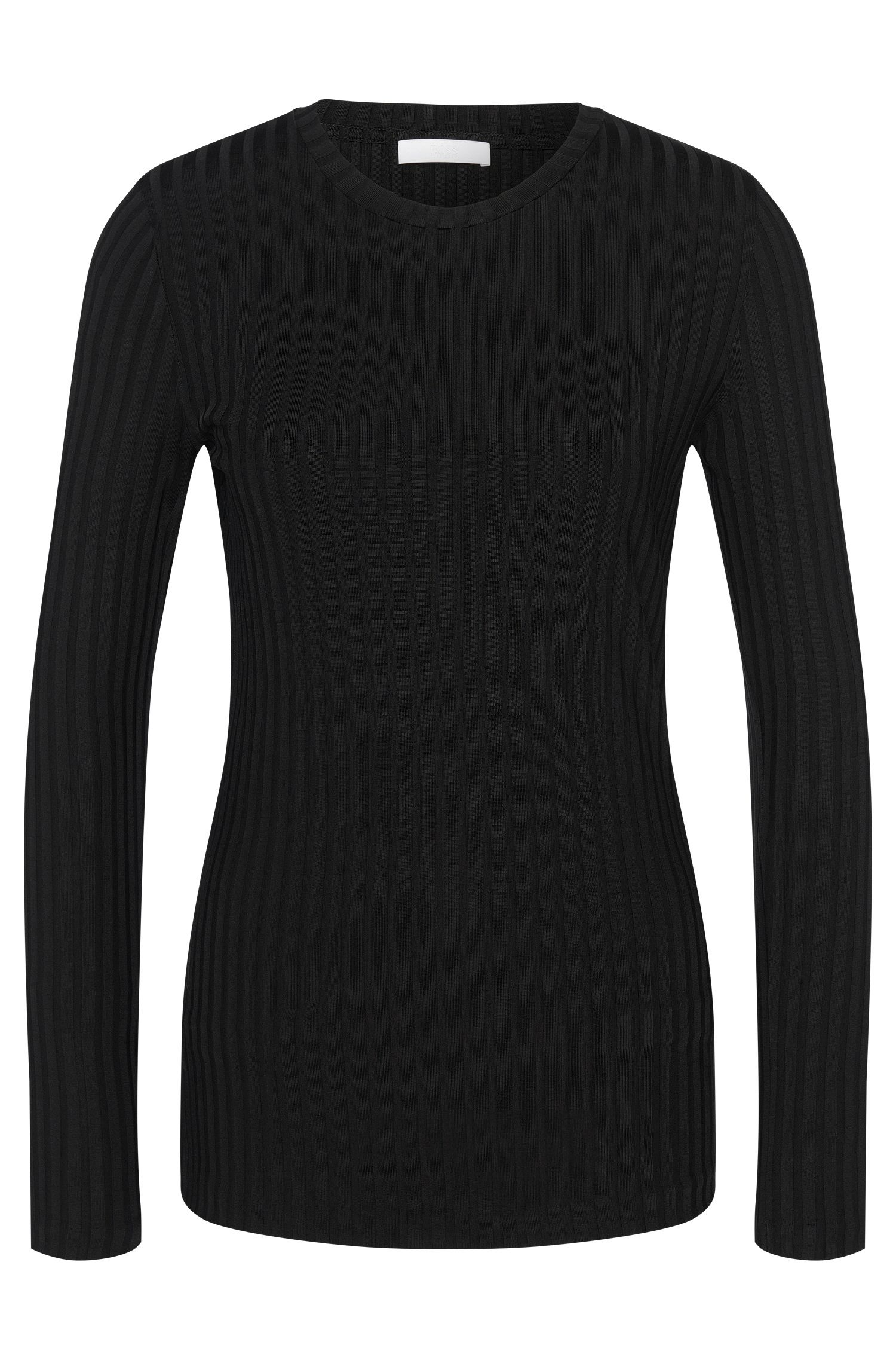 Long-sleeved shirt in stretch viscose with striped texture: 'Edira'