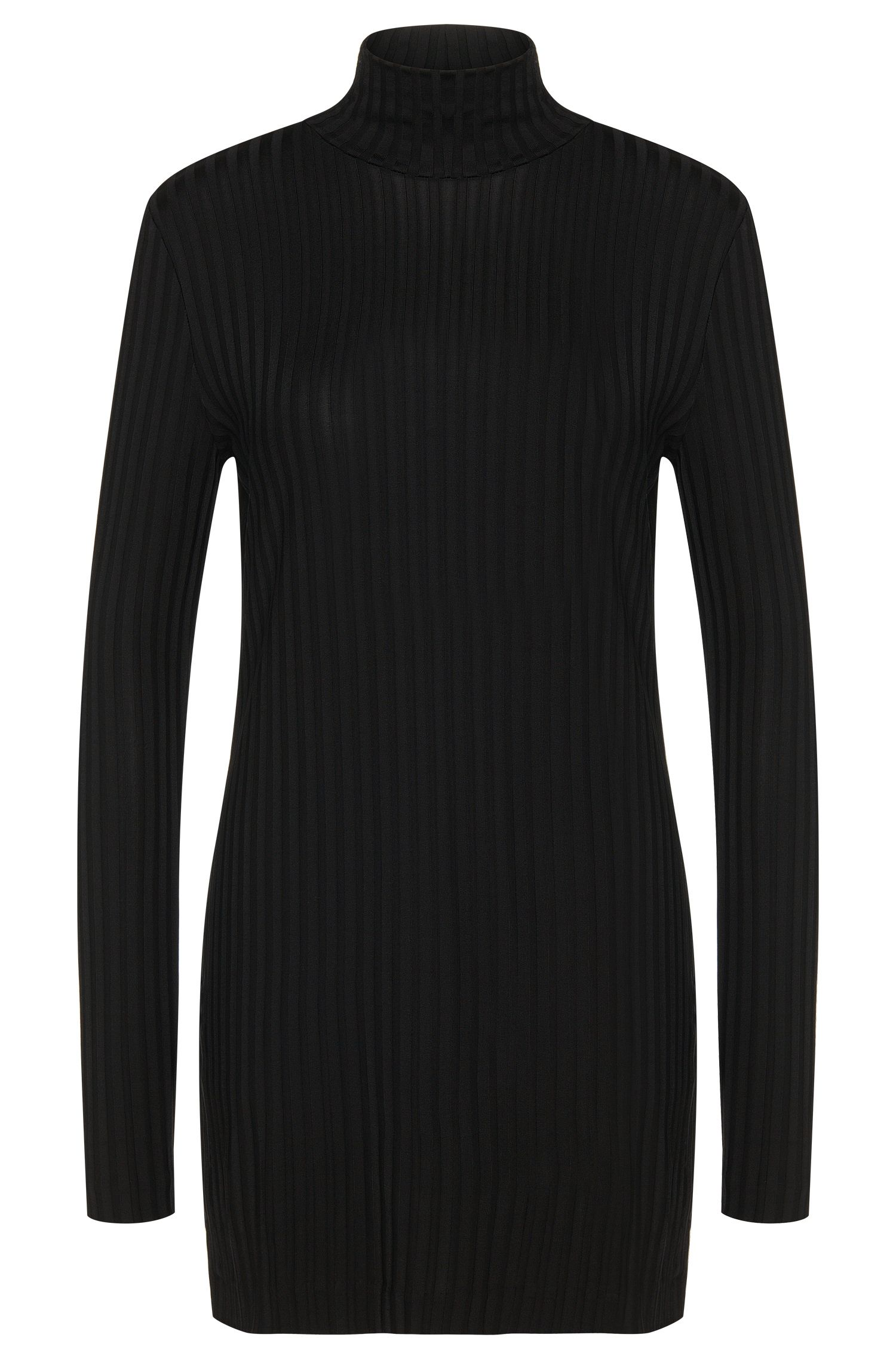 Long-sleeved top in stretch viscose with a longer fit: 'Edija'