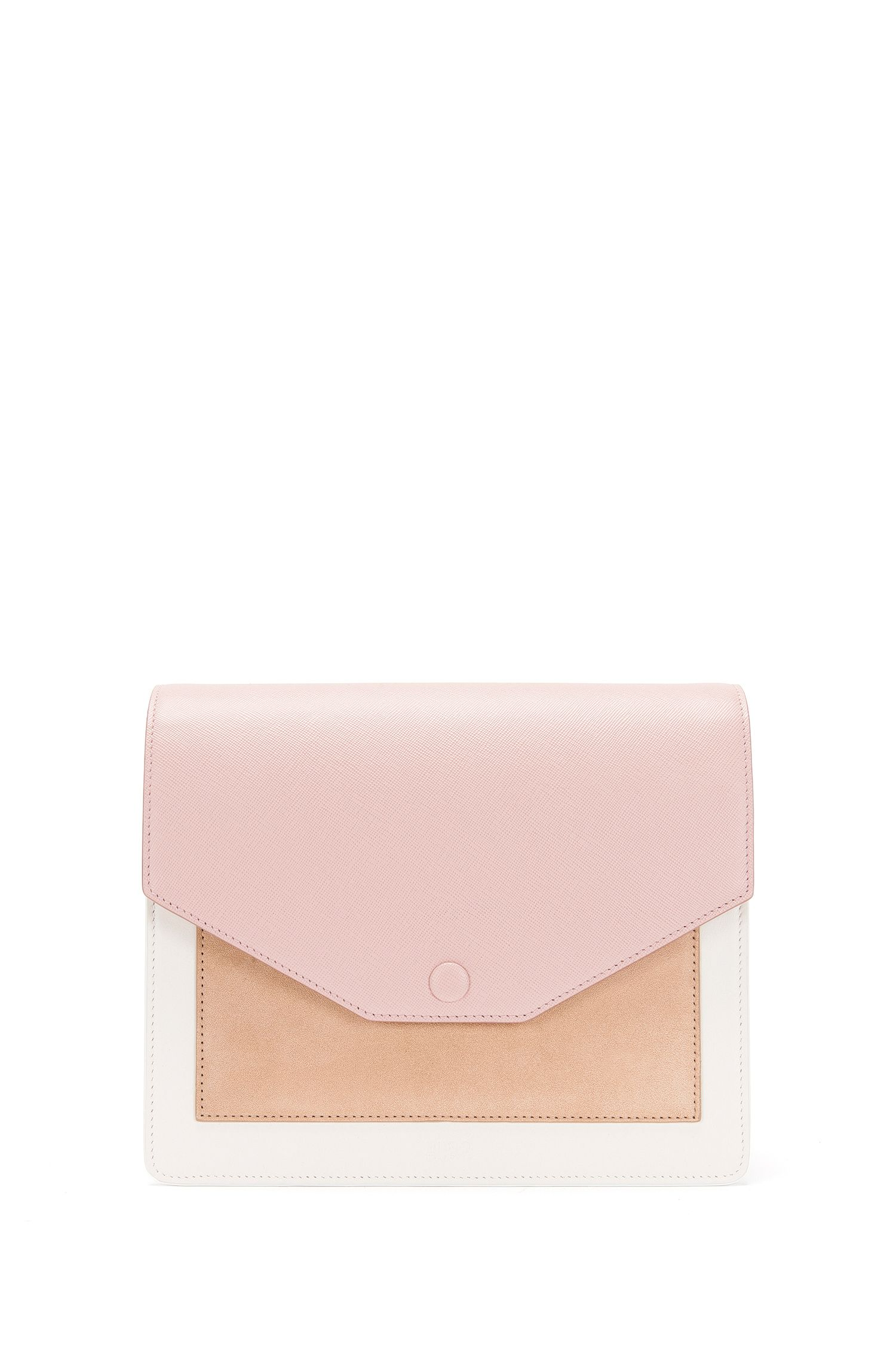 Leather shoulder bag in a colour-block design: 'Bea-M'