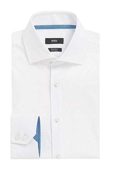 Regular-Fit Hemd aus Baumwolle mit Kontrast-Details: 'Gregory', Weiß