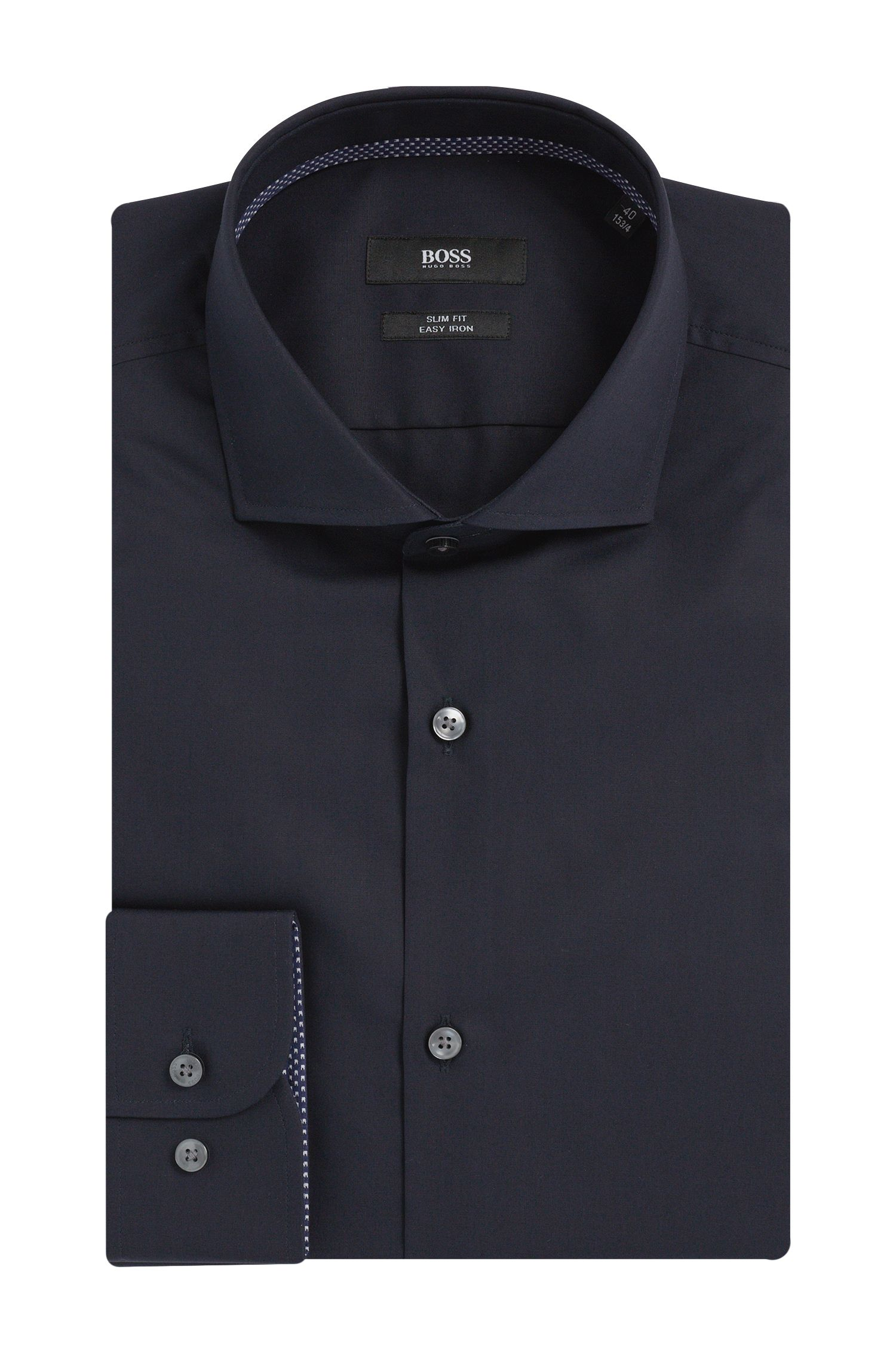 Slim-Fit Hemd aus Baumwolle mit gemusterten Details: 'Jery'