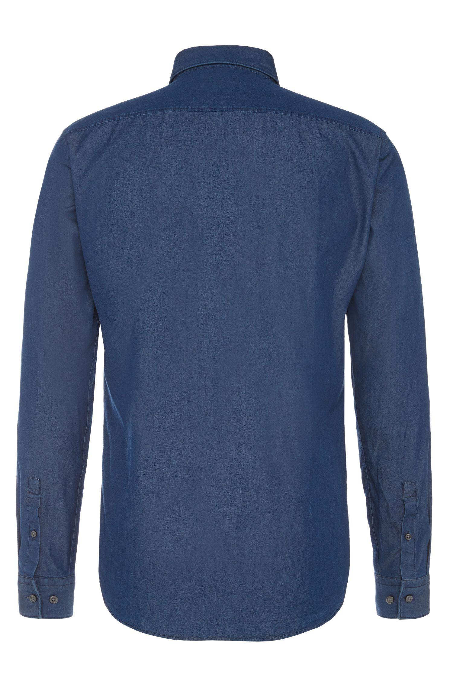 Slim-Fit Hemd aus Baumwolle im Denim-Look. 'Isaak'