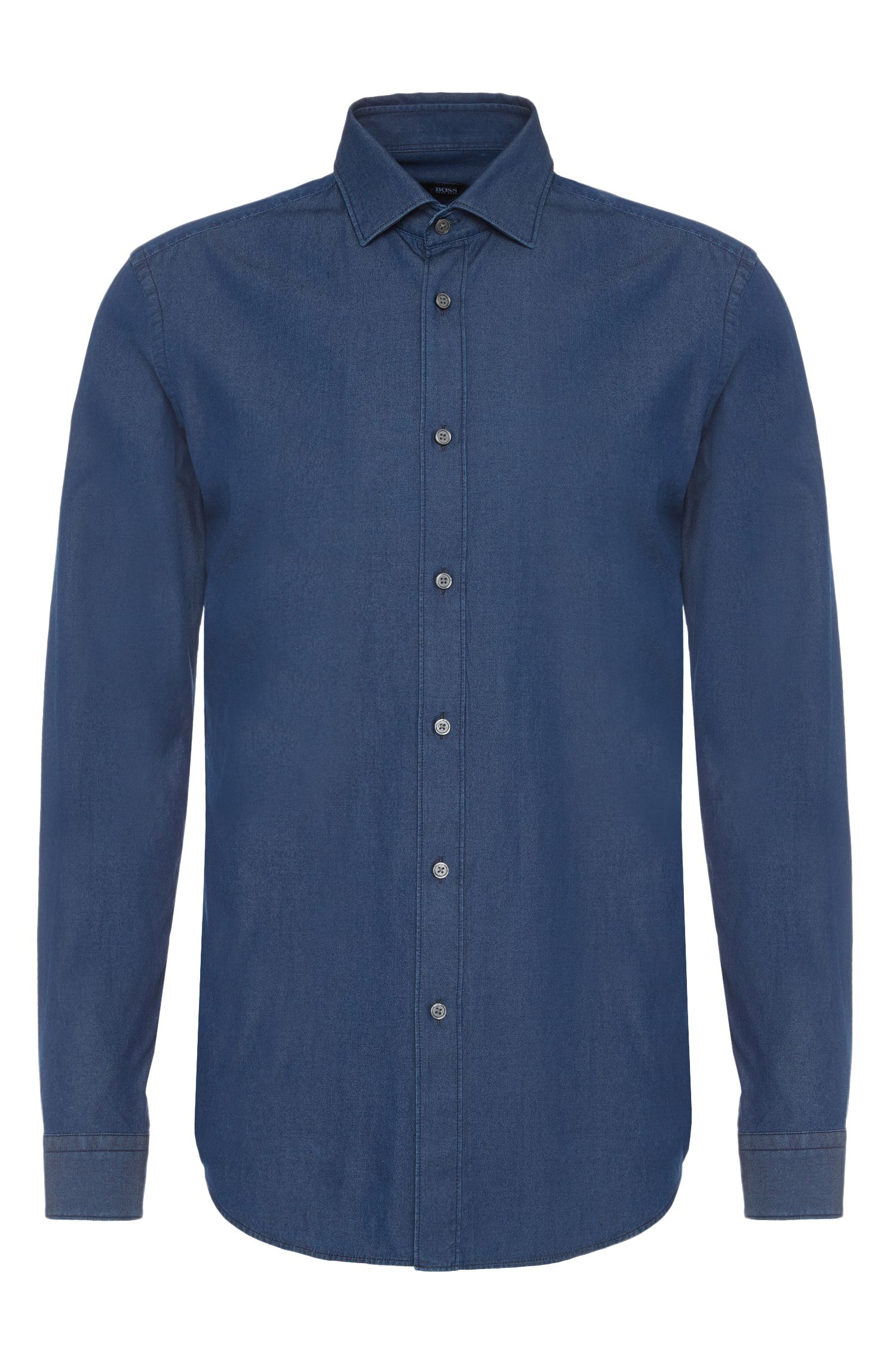 Chemise Slim Fit en coton au look denim. « Isaak »