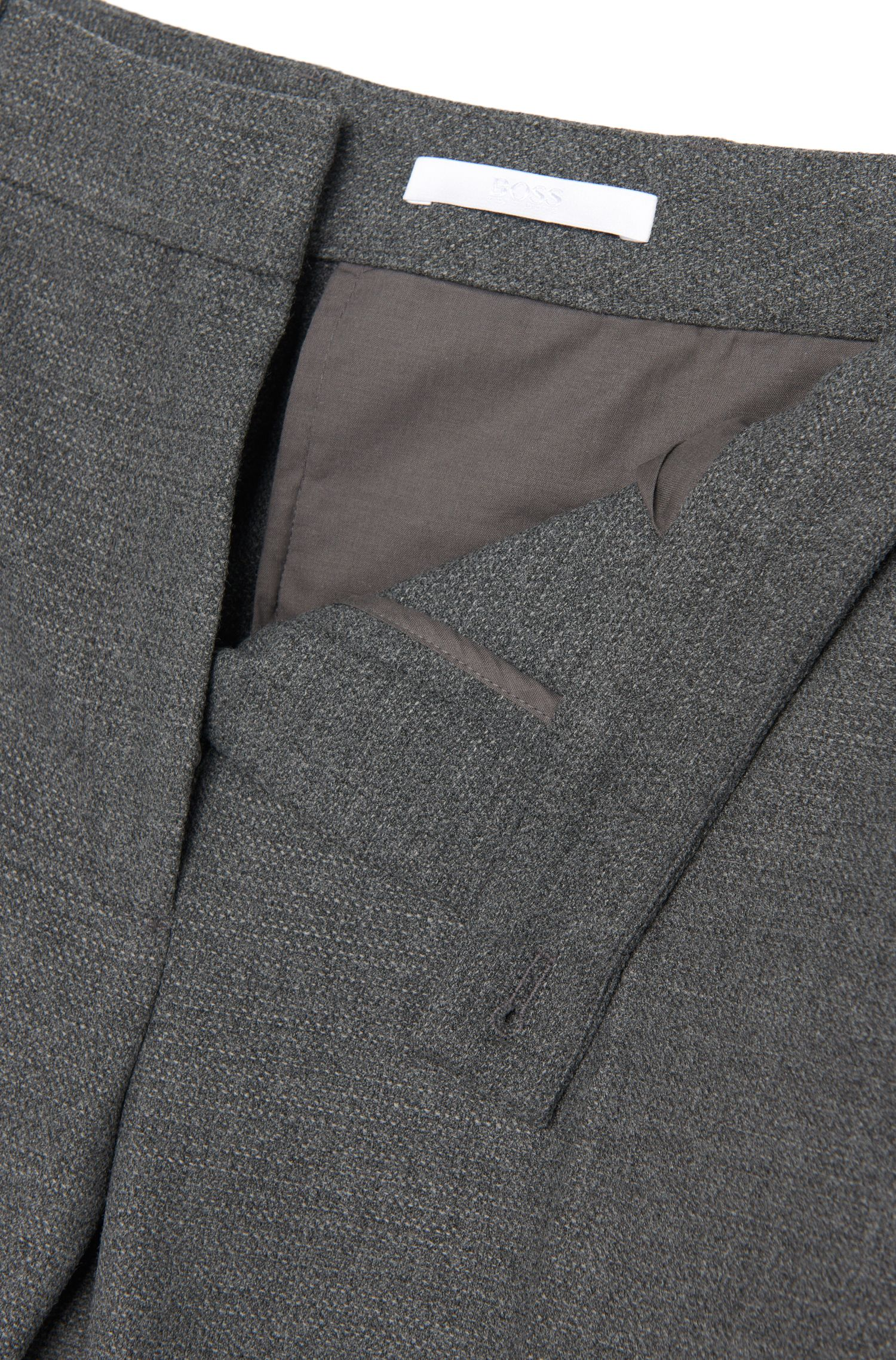 Fijngemêleerde regular-fit broek met opvallende omboorde zakken: 'Acnes9'