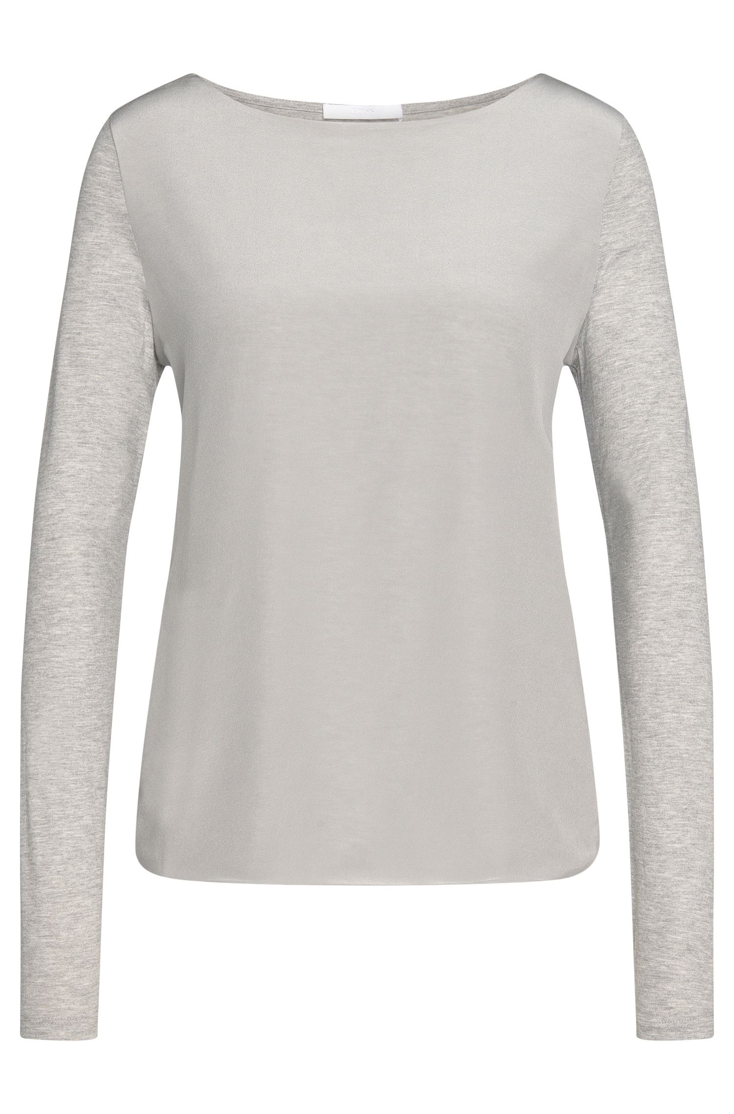 Plain long-sleeved top in viscose with silk trim: 'Emani'