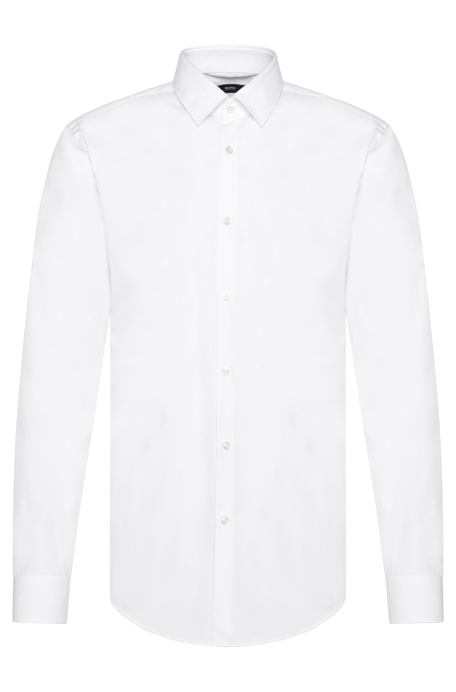 Slim-fit shirt in cotton with textured collar: 'Jarret'