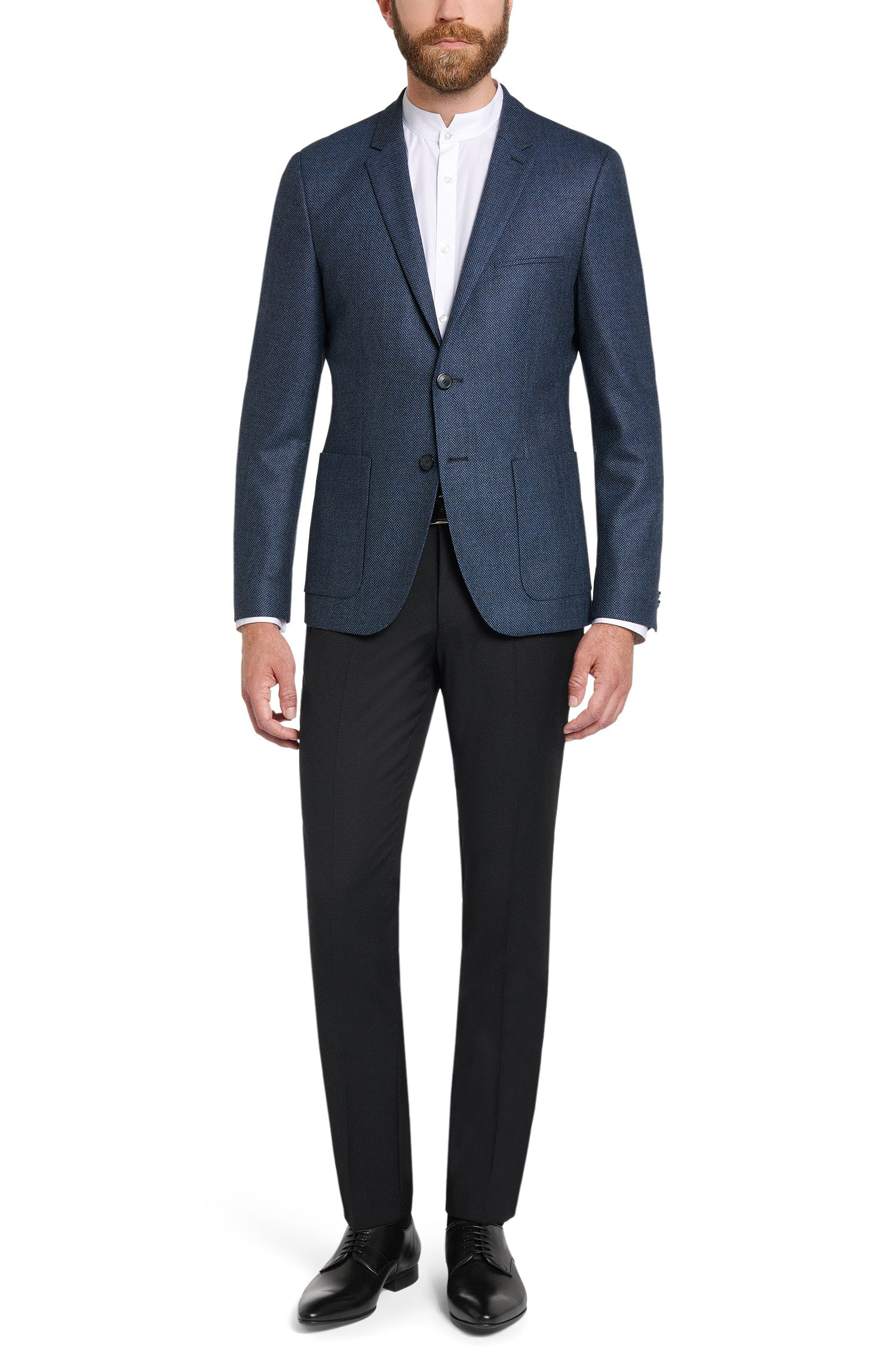 Extra Slim-Fit Hose aus Schurwolle mit Struktur: 'Hadeo'