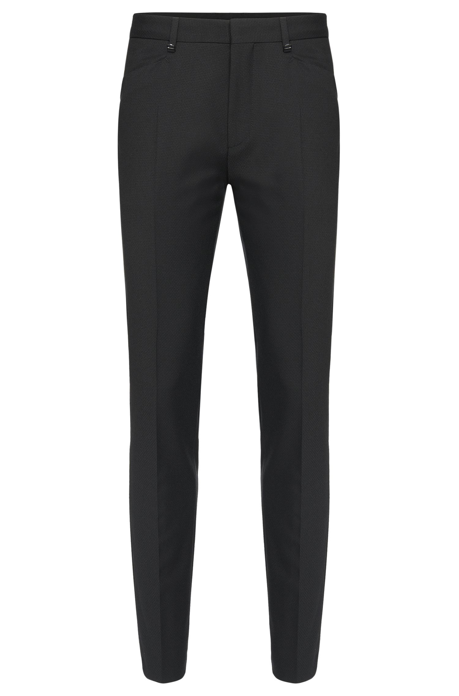 Extra slim-fit trousers in textured new wool: 'Hadeo'