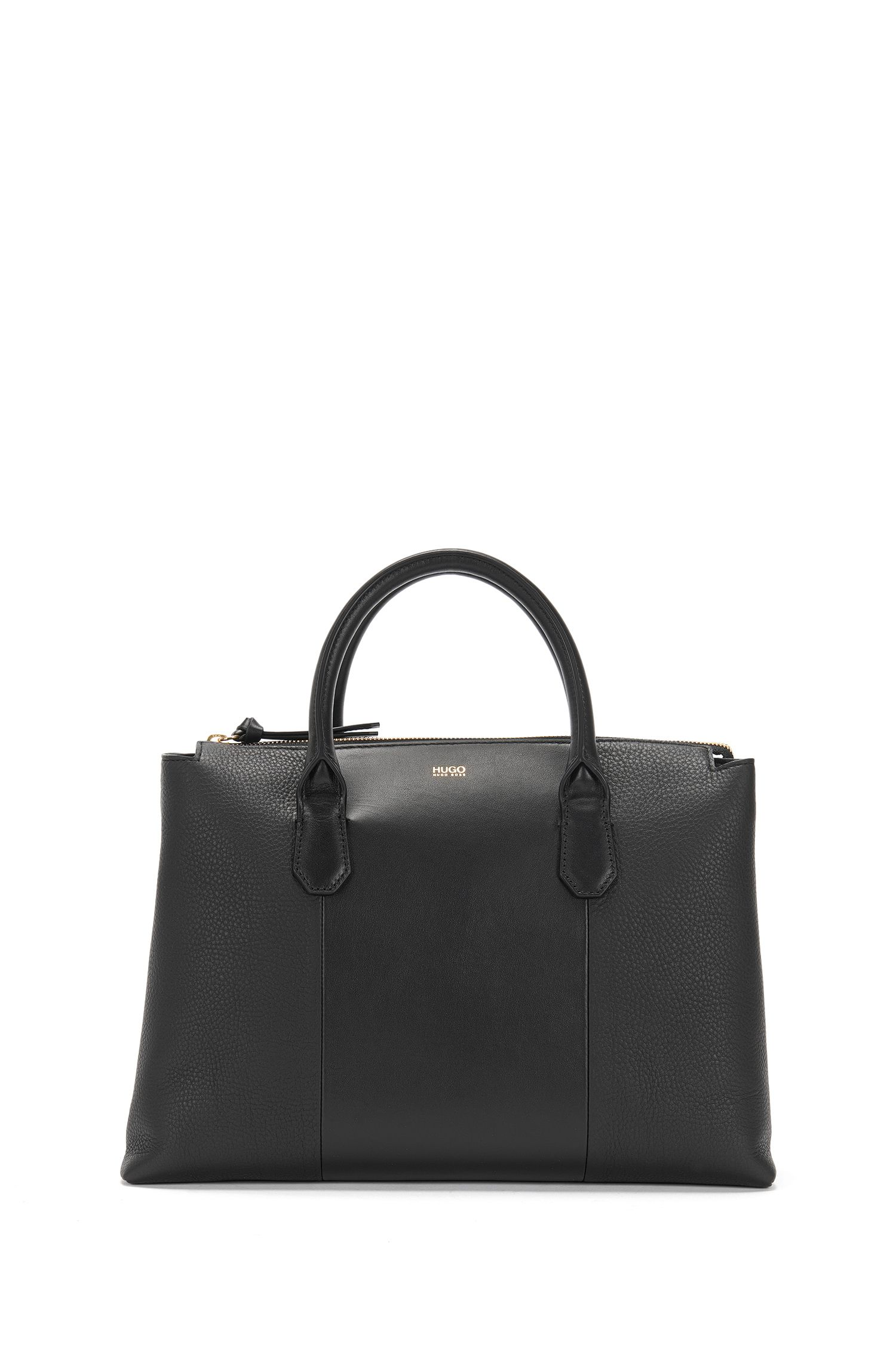 Plain leather shopper in a mixture of textures: 'Gisah-M'