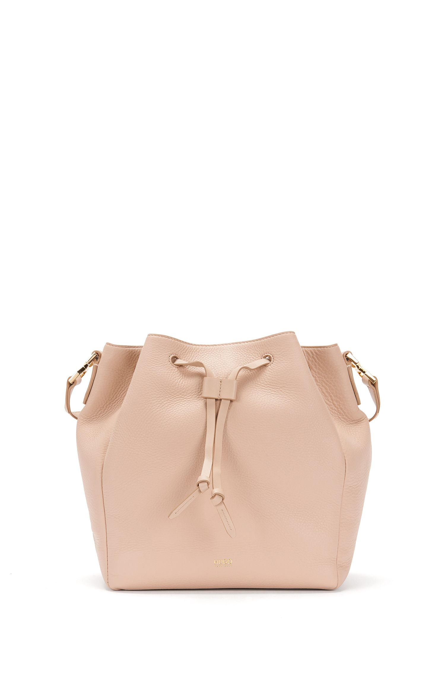 Plain leather shoulder bag in drawstring-pouch design: 'Gaby-M'