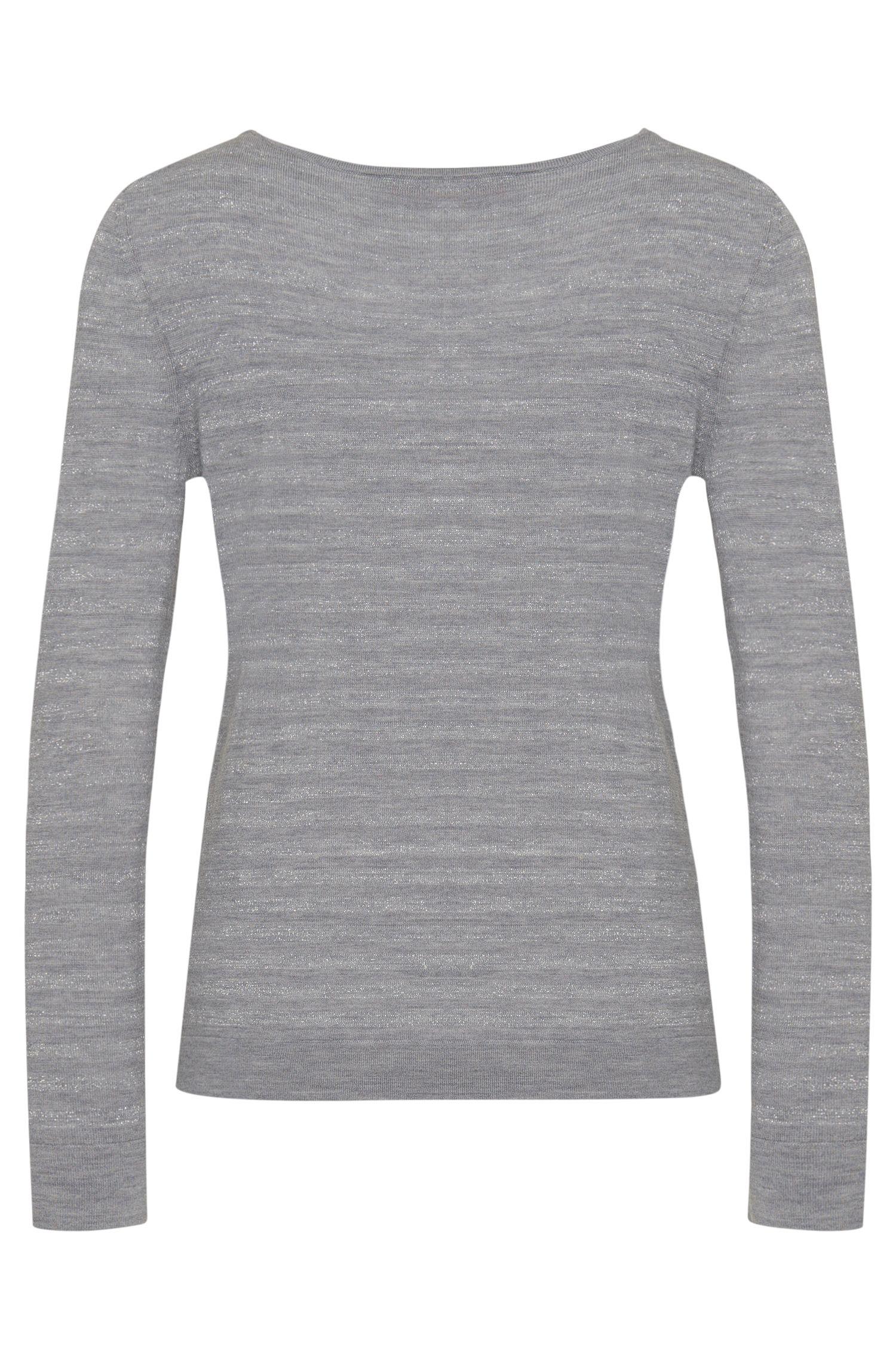 Pull en laine vierge mélangée enrichie de fibres métalliques: «Salmira»