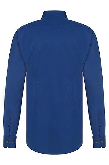 Unifarbenes Slim-Fit Hemd aus bügelleichter Baumwolle: 'Jery', Blau