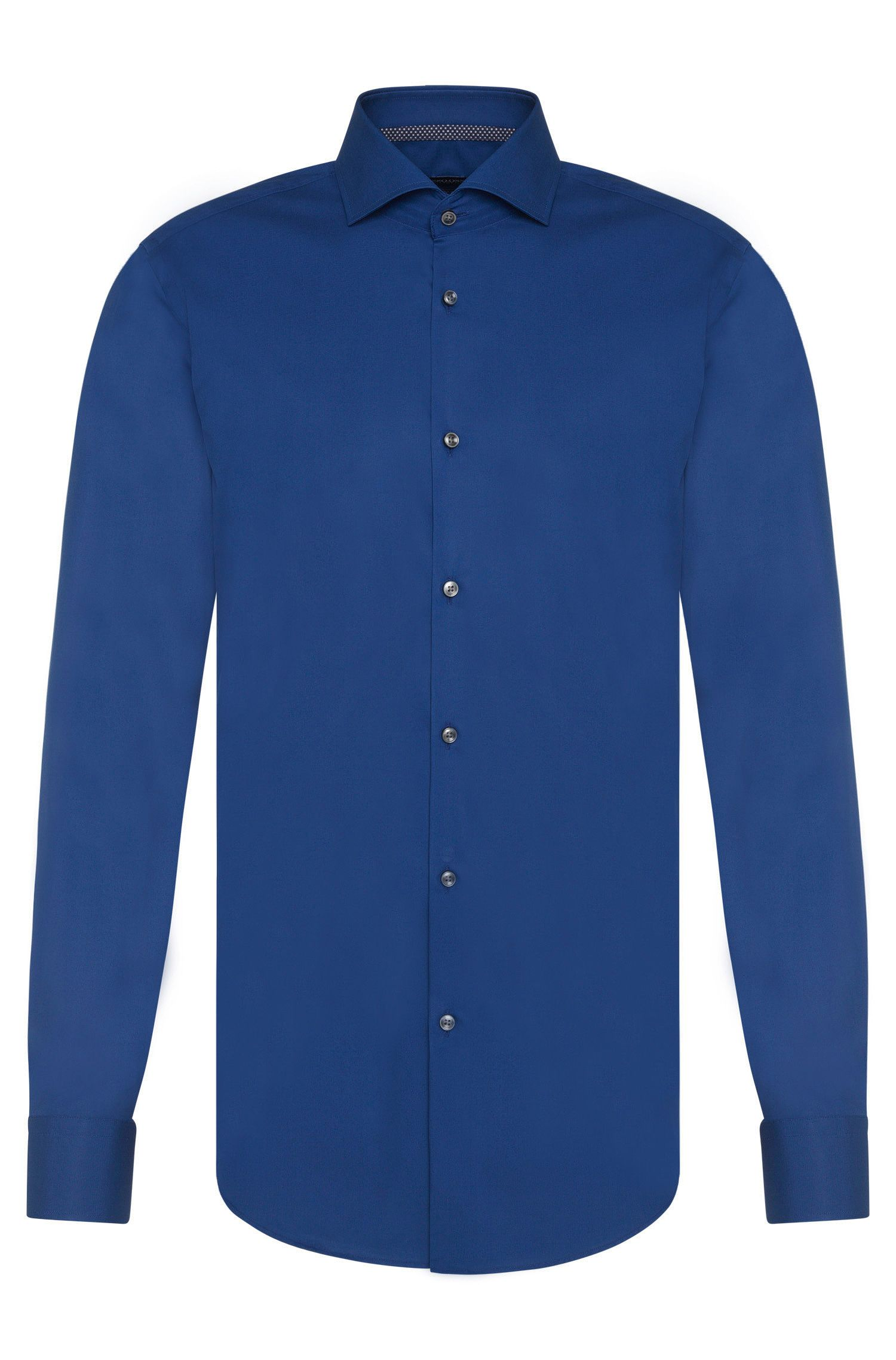 Plain slim fit shirt in easy-iron cotton: 'Jery'