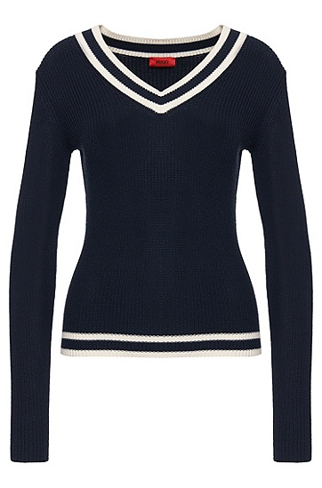 Sweater in cotton blend with silk: 'Sarannah', Dark Blue