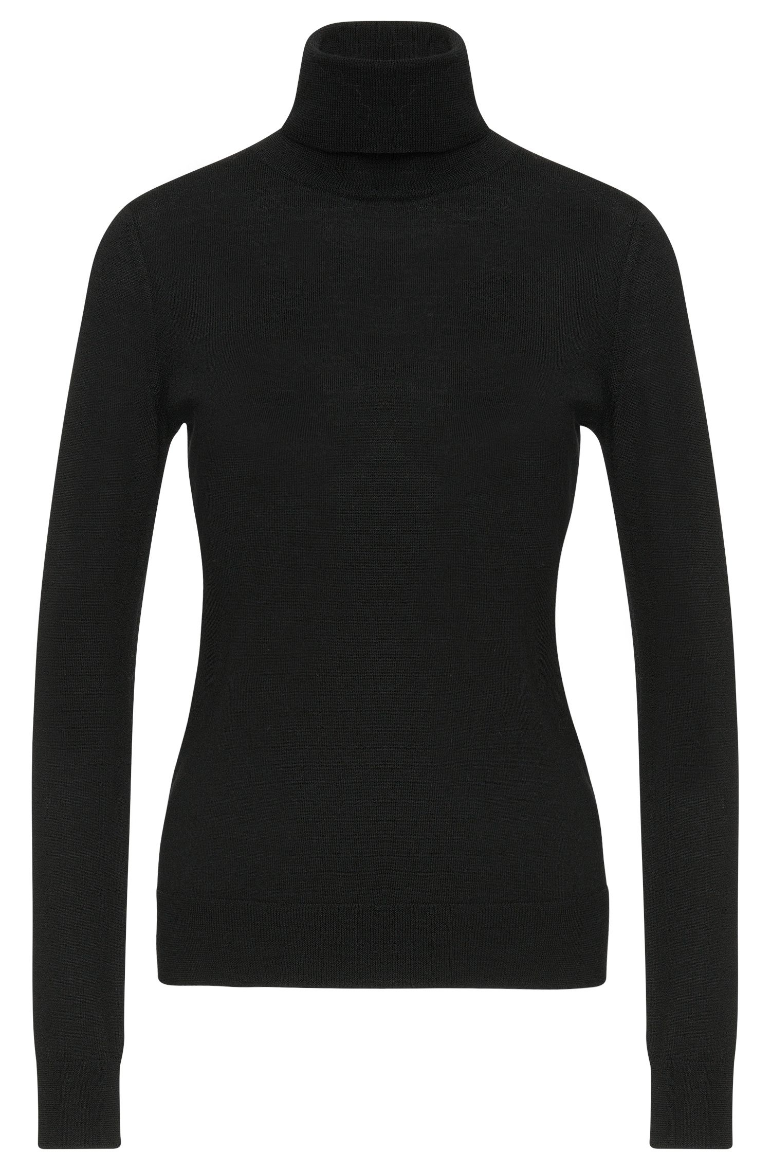 Plain-coloured polo neck sweater in new wool: 'Sedell'