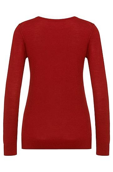 Unifarbener Pullover aus Schurwolle: 'Sedella', Hellrot