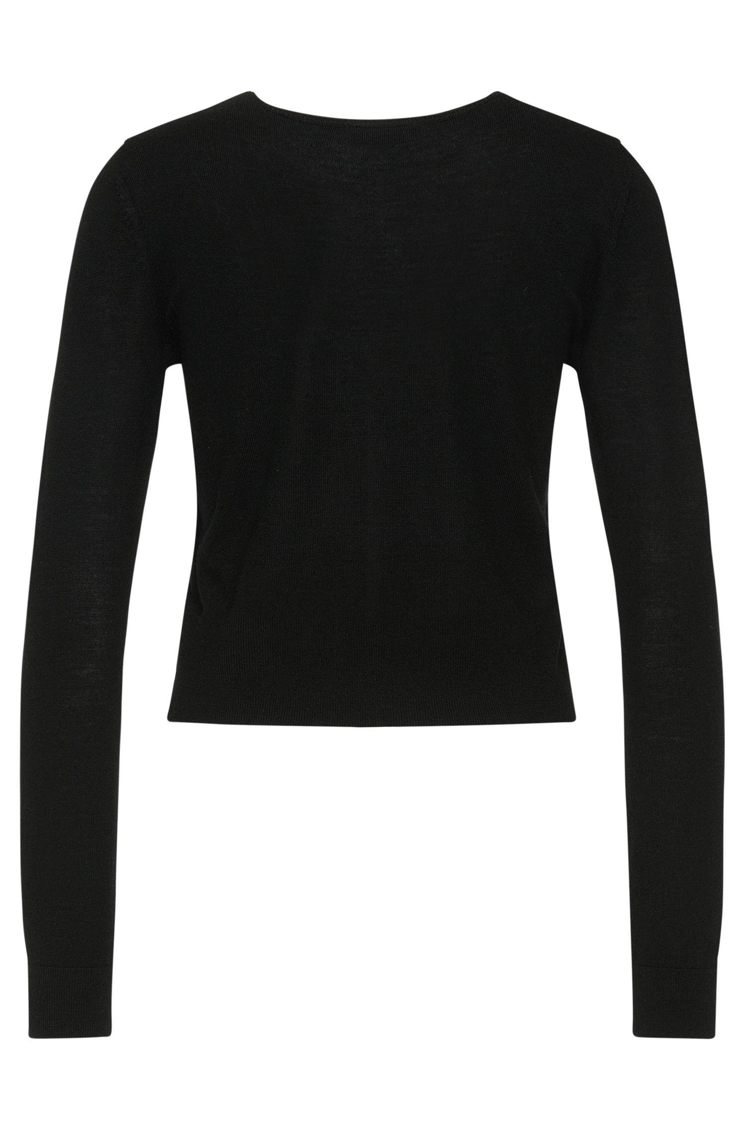 Unifarbene Strickjacke aus reiner Schurwolle: 'Seema'