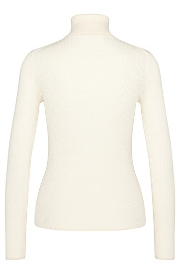 Finely ribbed polo neck sweater in new wool: 'Serda', Natural