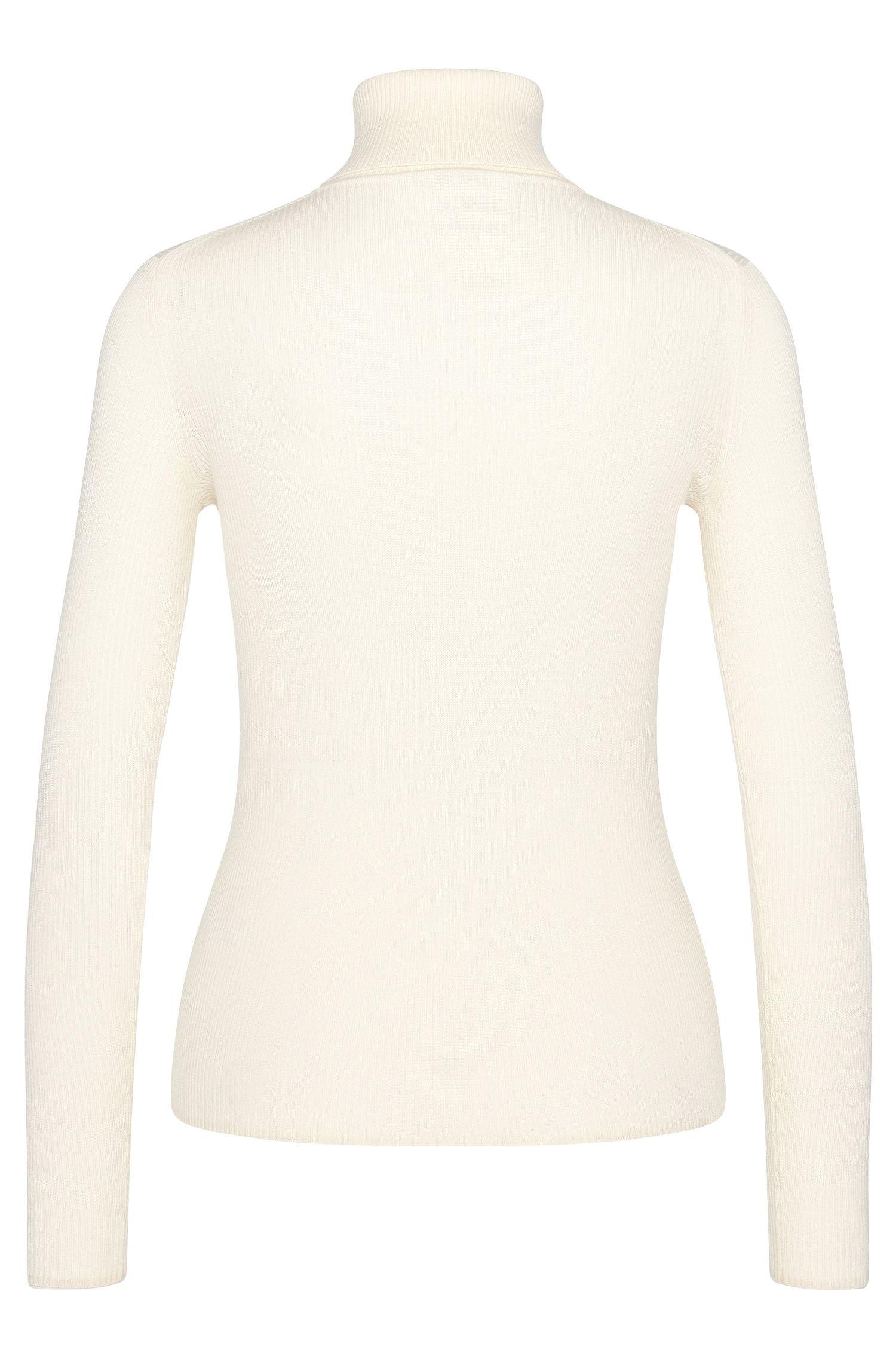 Fein gerippter Rollkragen-Pullover aus Schurwolle: 'Serda'