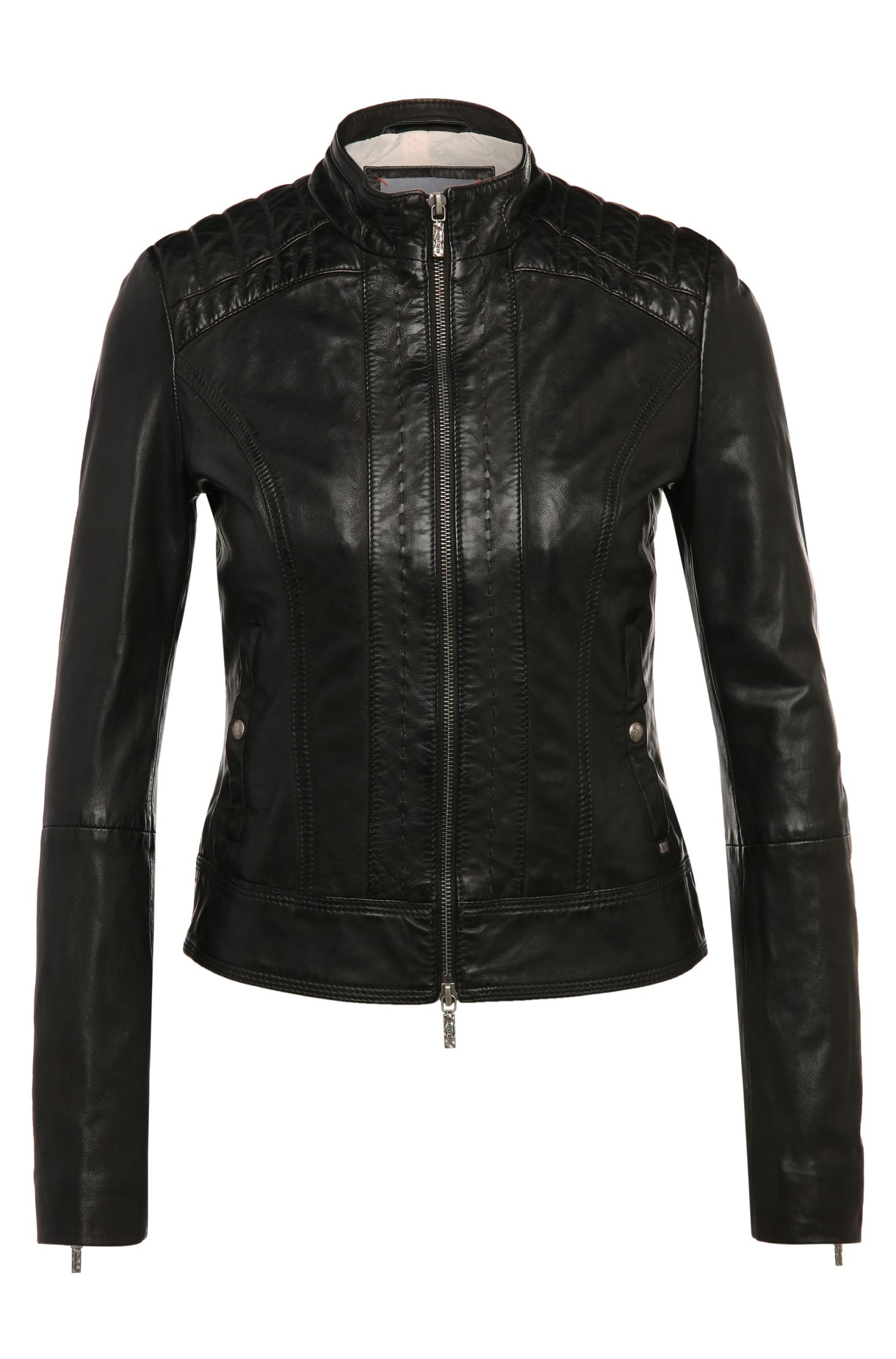 Fitted leather jacket with topstitching: 'Janassi1'
