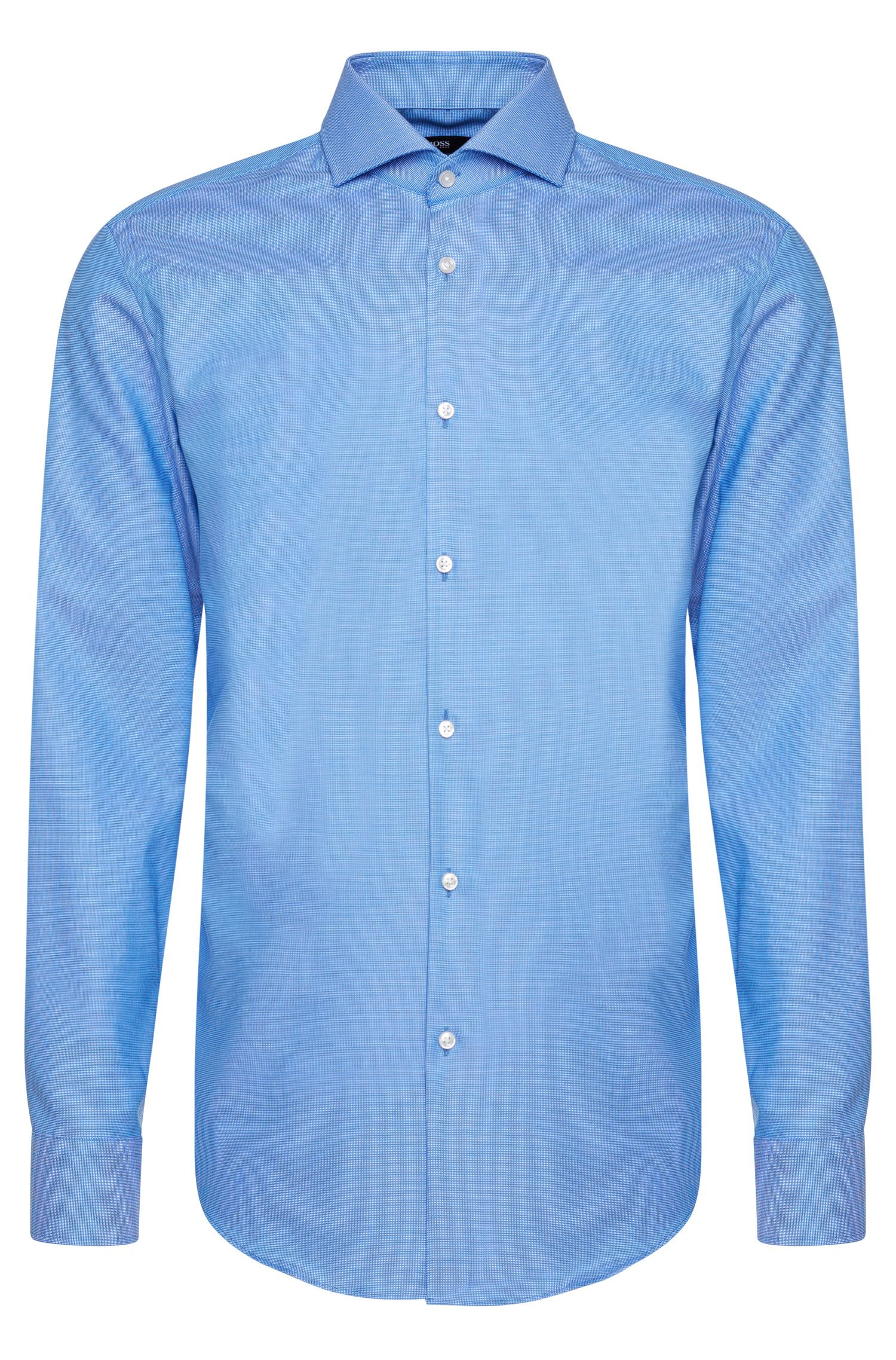 Chemise en coton Slim Fit Travel Line à motif fin : « Jason »