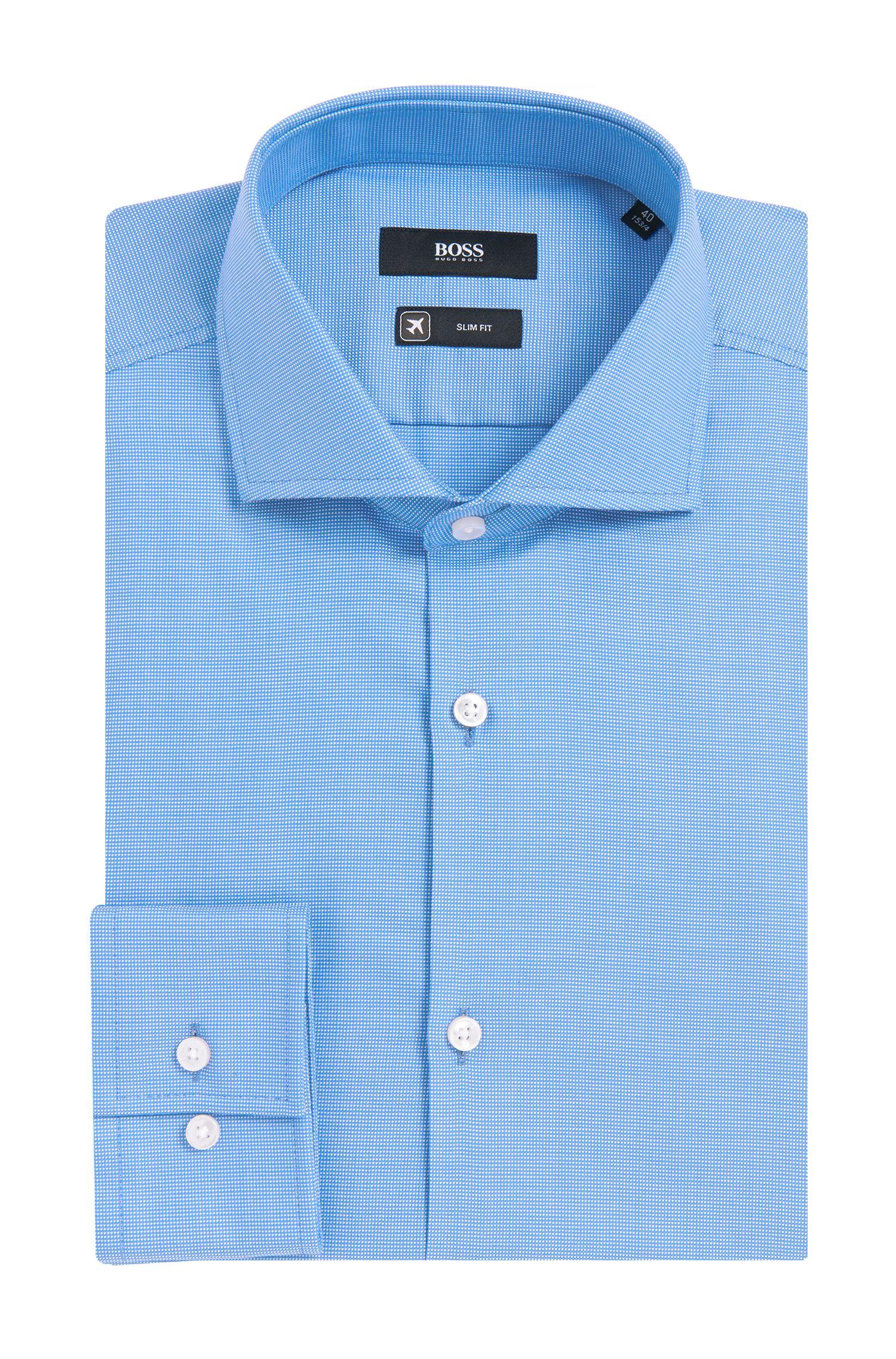 Chemise en coton Slim Fit Travel Line à motif fin: «Jason»