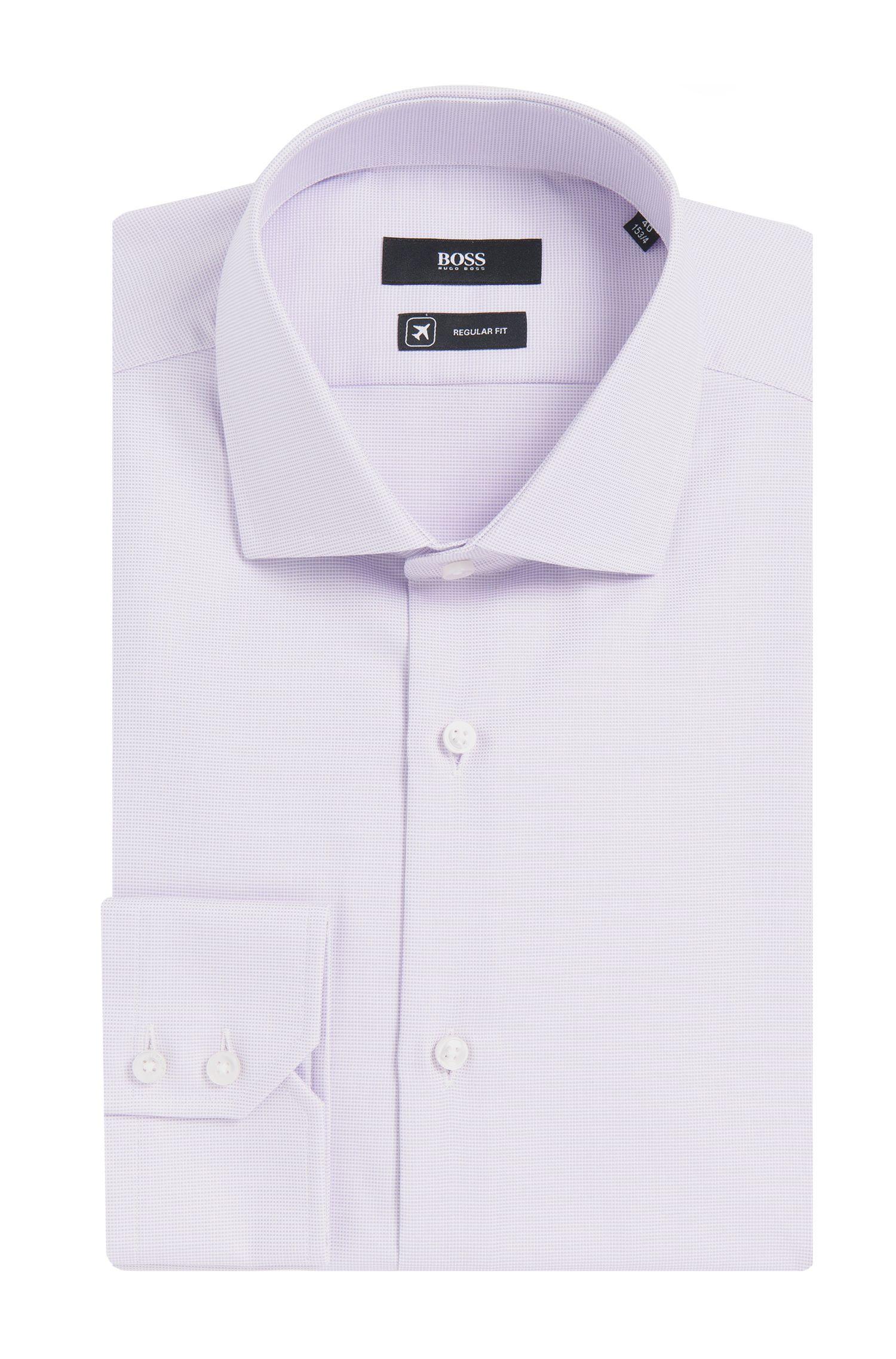 Regular-fit overhemd van gestructureerde katoen uit de Travel Line-collectie: 'Gordon'