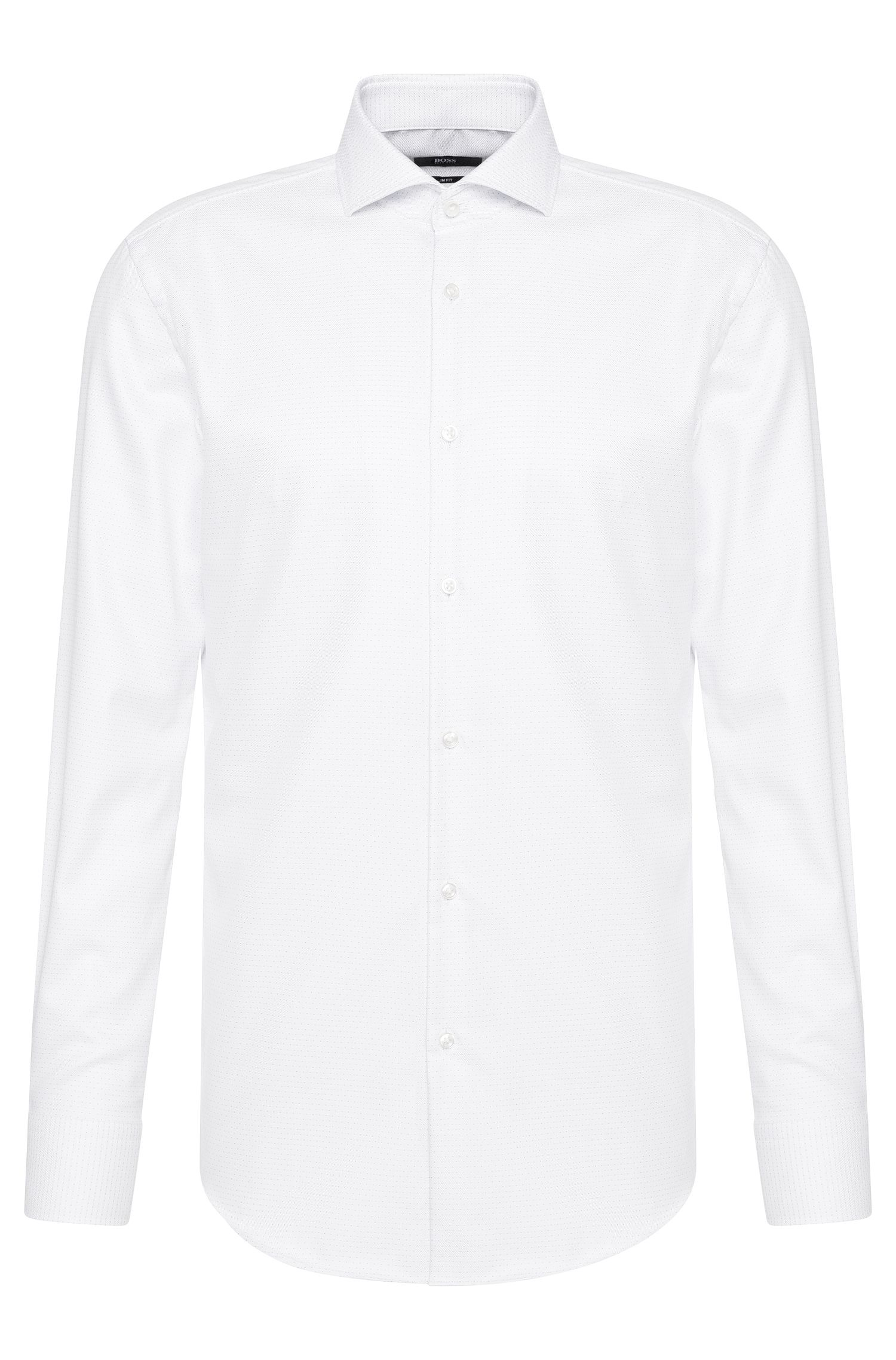 Slim-fit shirt in cotton with fine stitching: 'Jason'